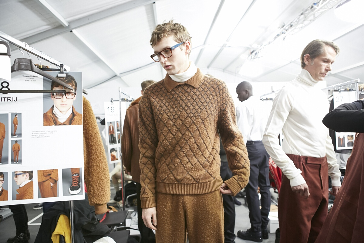 Backstage Ermenegildo Zegna Fashion Show Model