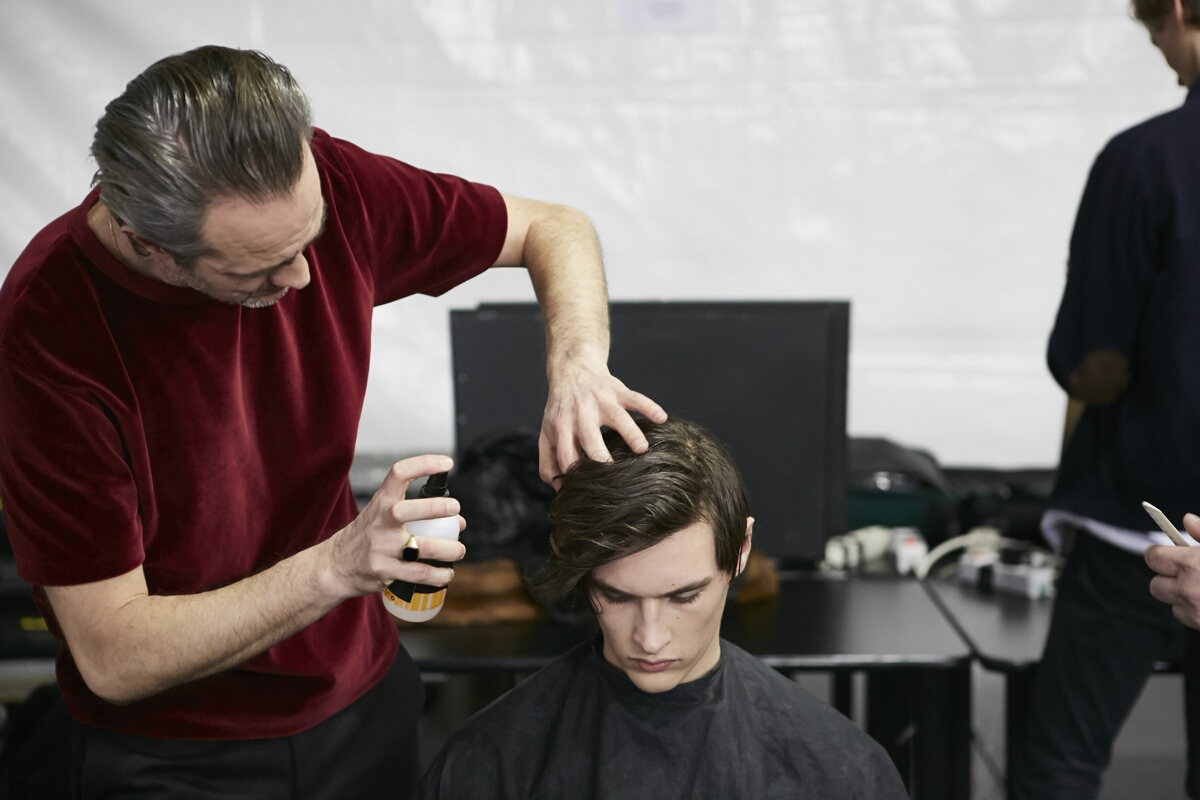 Backstage Hair Stylist Ermenegildo Zegna