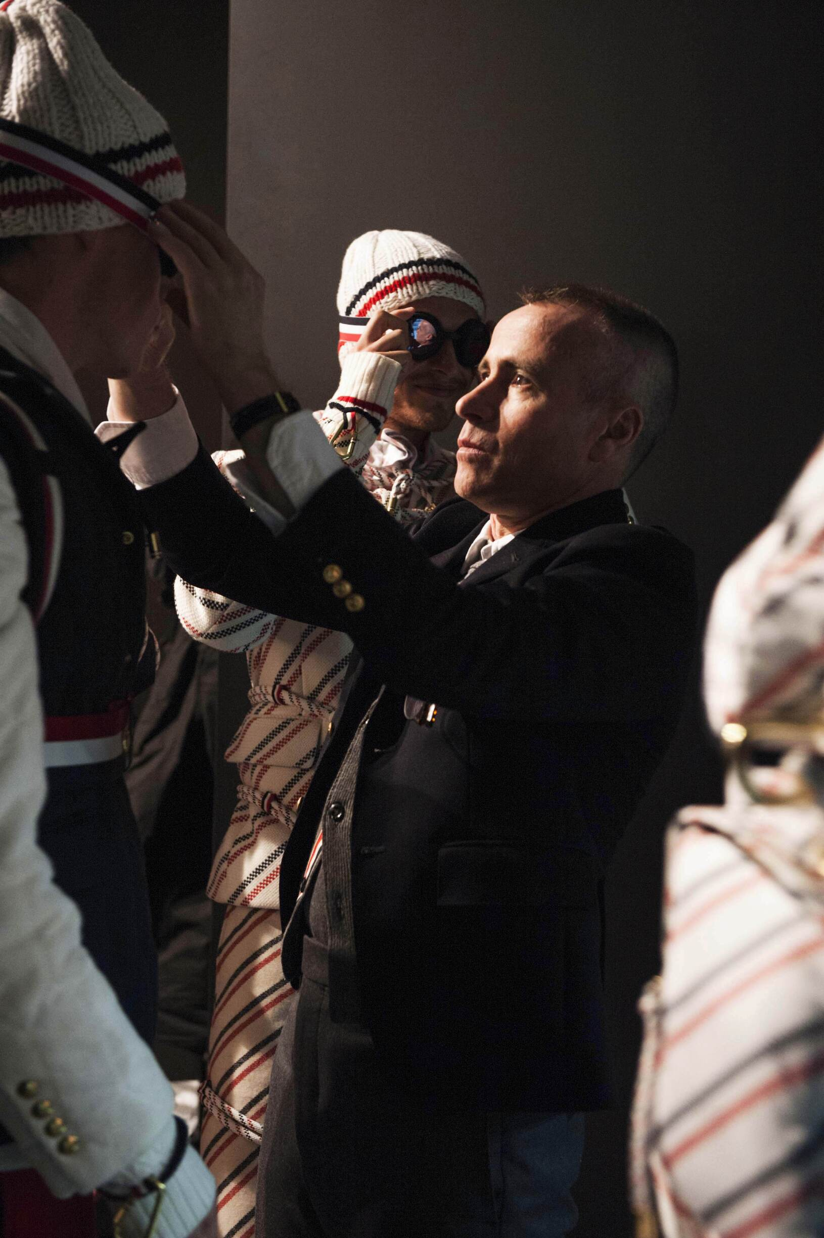 Backstage Moncler Gamme Bleu FW 2017 18 Models and Thom Browne