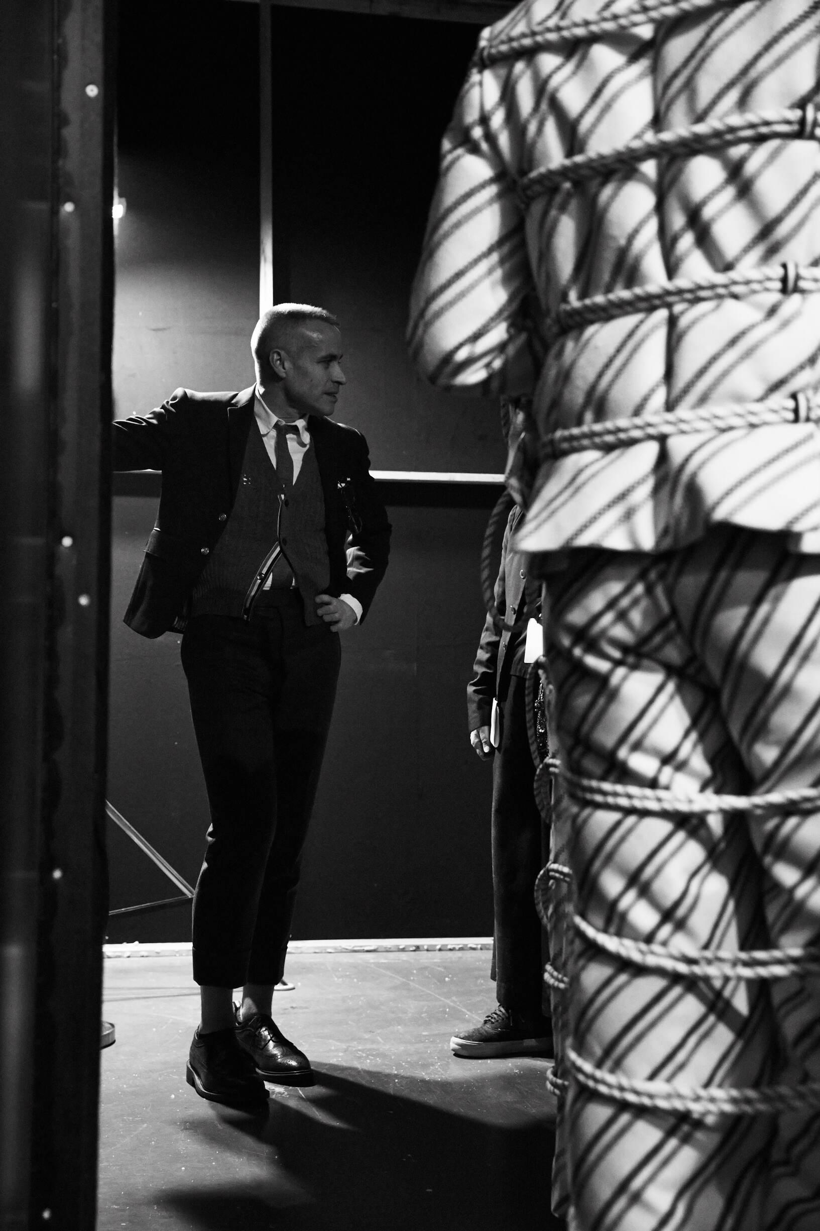 Backstage Moncler Gamme Bleu FW 2017 Thom Browne