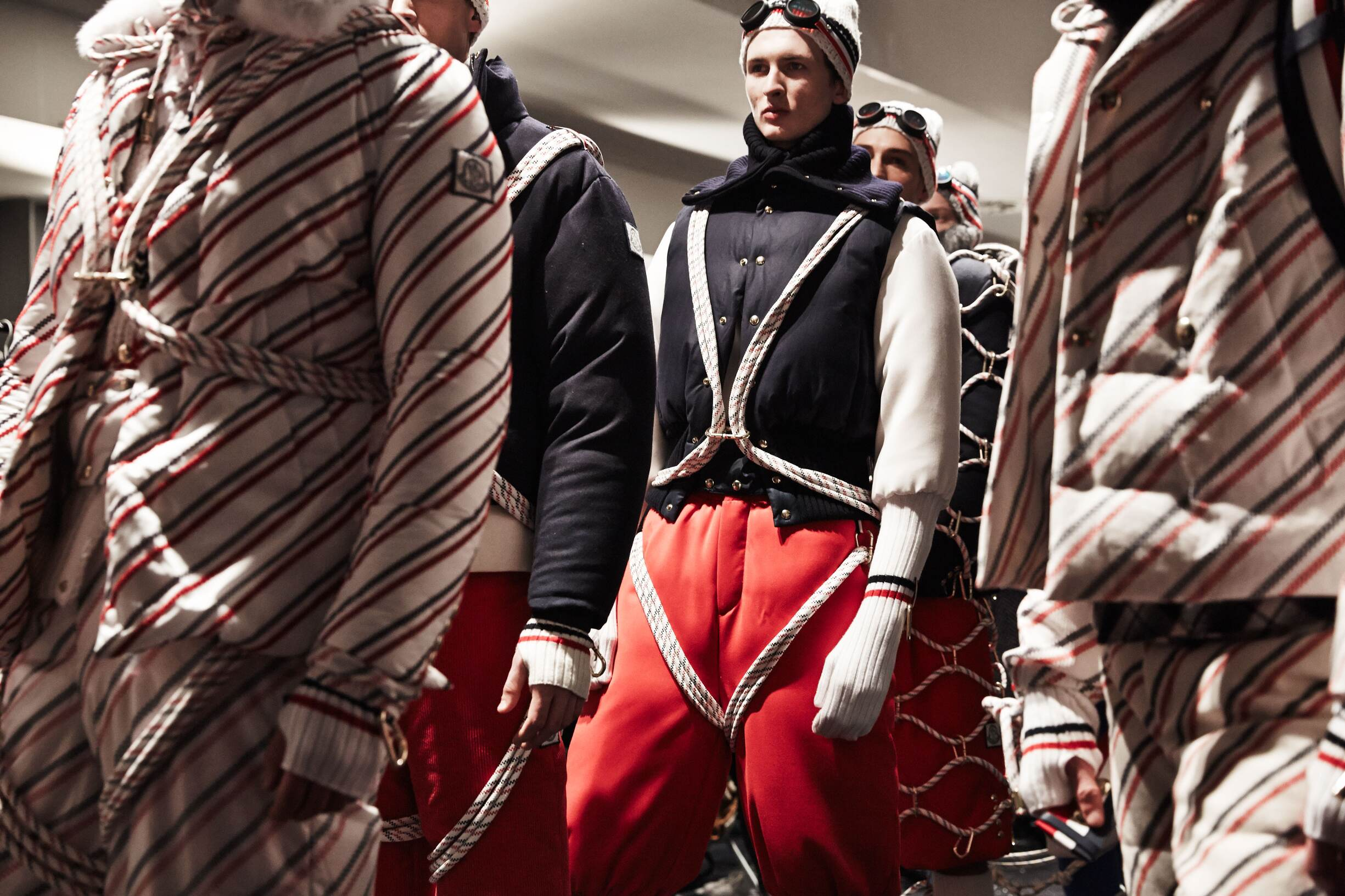 Backstage Moncler Gamme Bleu Fashion Show Models