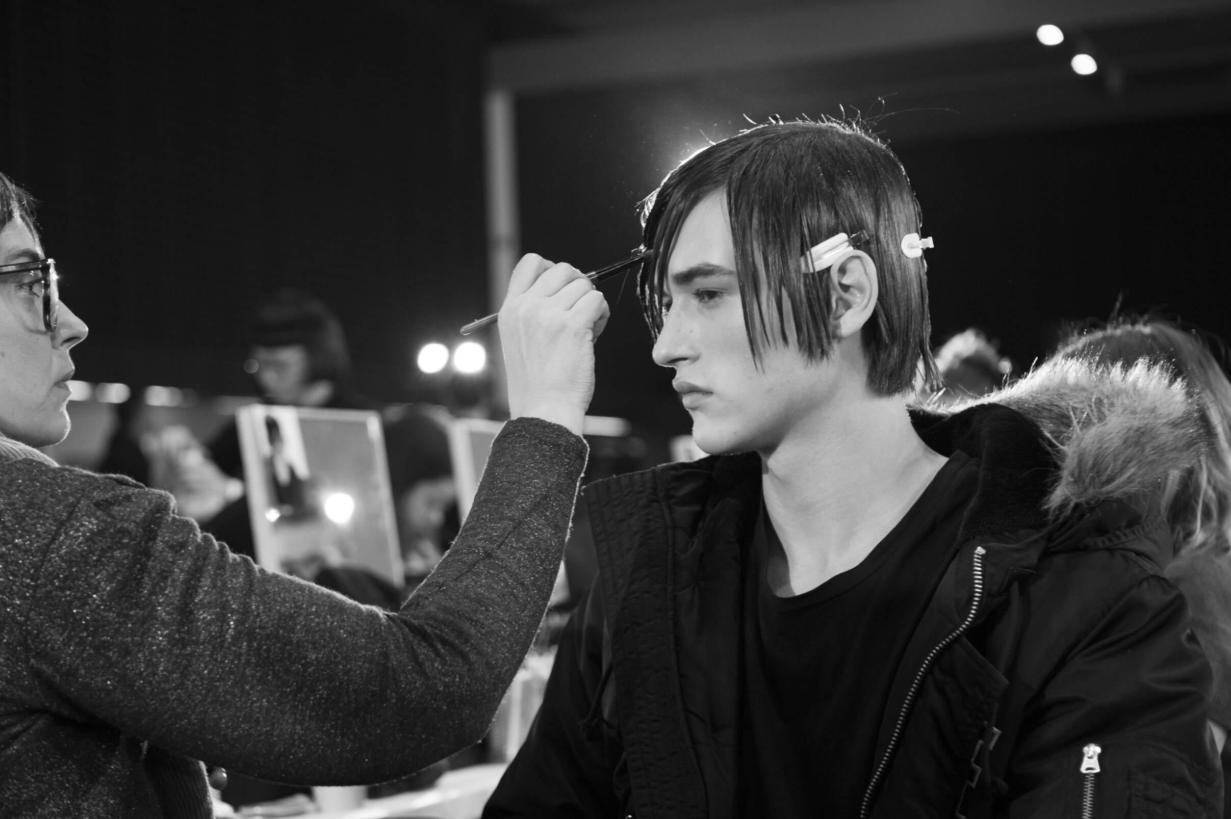 Backstage Versace Fashion Hair Stylist