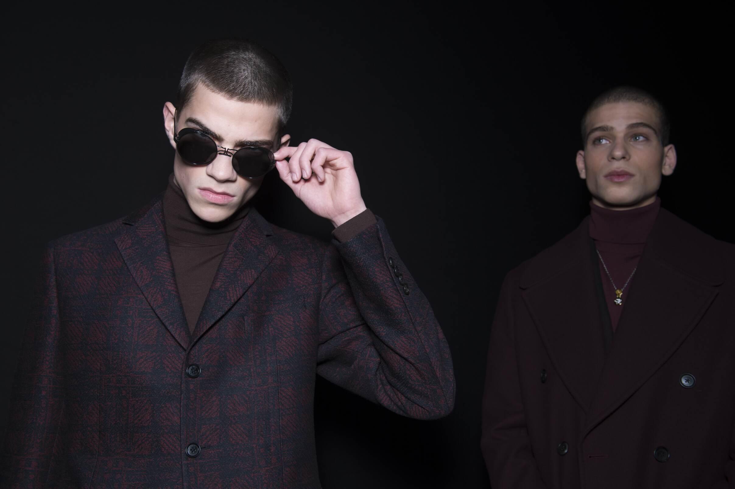 Backstage Versace Fashion Show Man Detail