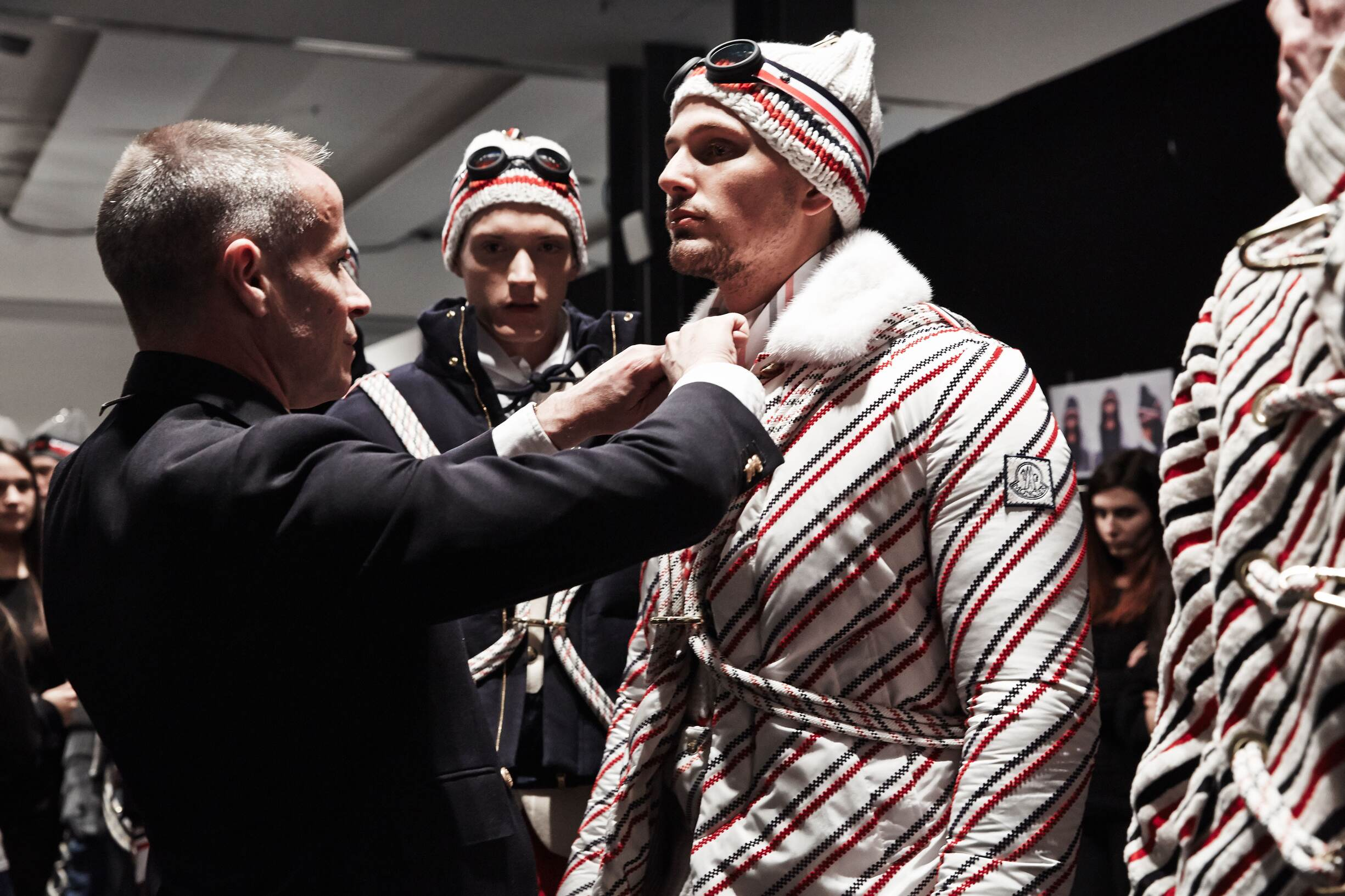 Fashion Models and Thom Browne Moncler Gamme Bleu Backstage