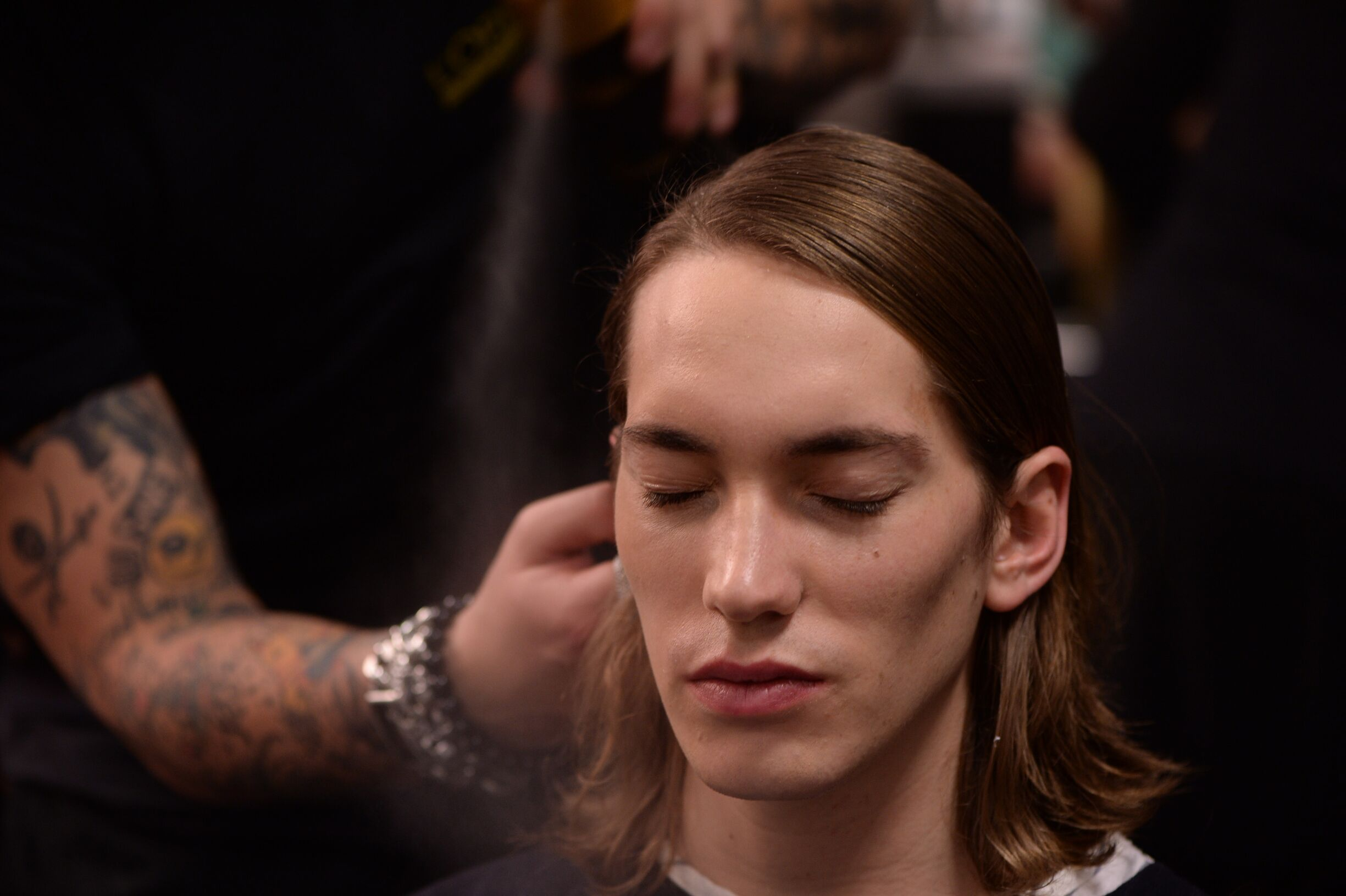 Hair Stylist Backstage Diesel Black Gold Milan Fashion Week