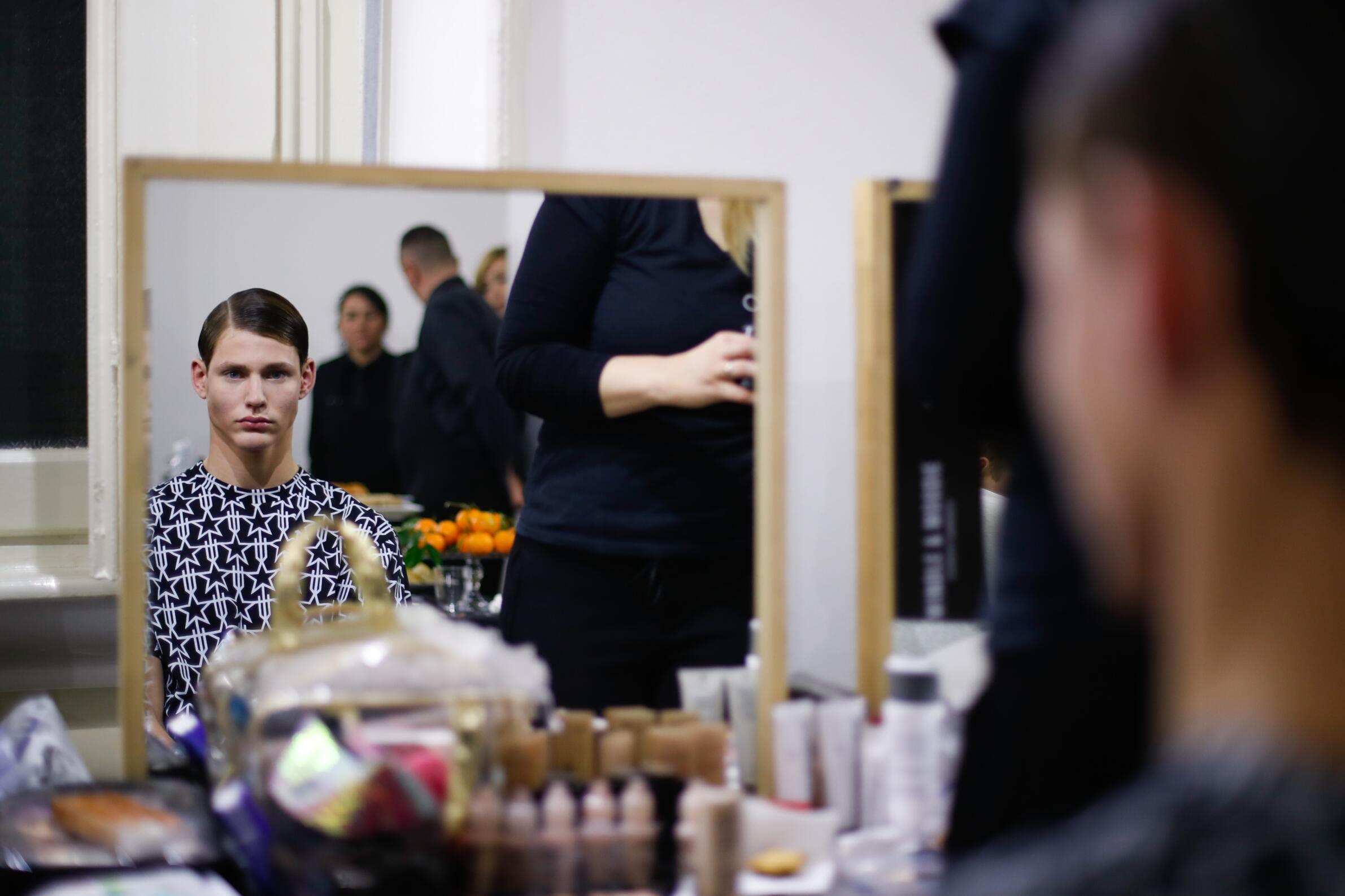 Men Model Daks Backstage