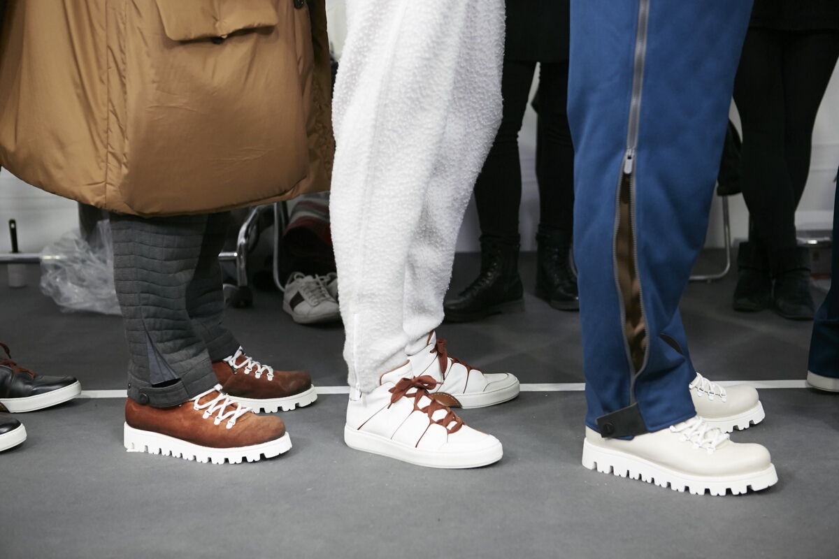 Shoes Backstage Models Ermenegildo Zegna