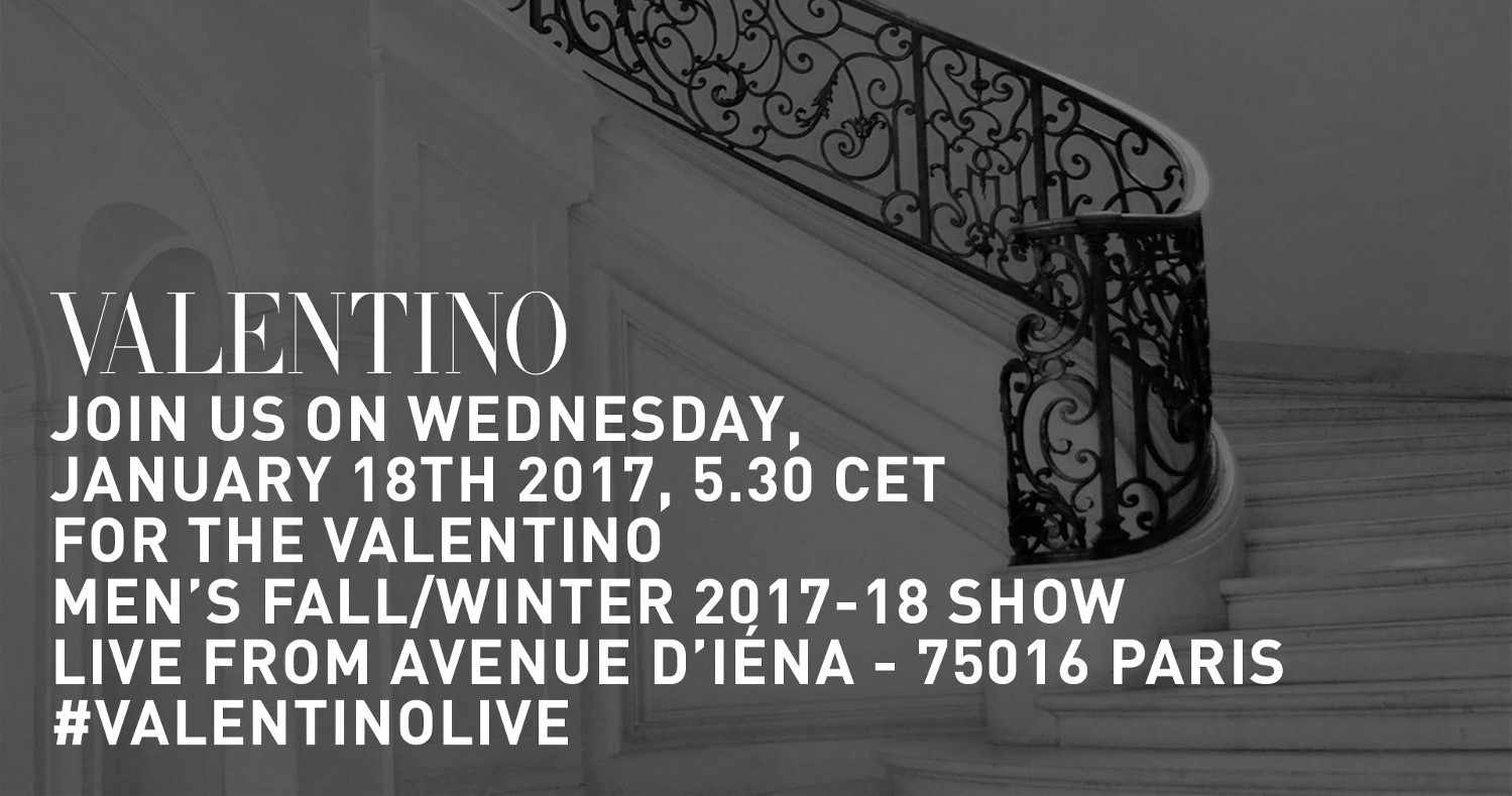 Valentino Fall Winter 2017-18 Men's Fashion Show Live Streaming Paris Fashion Week