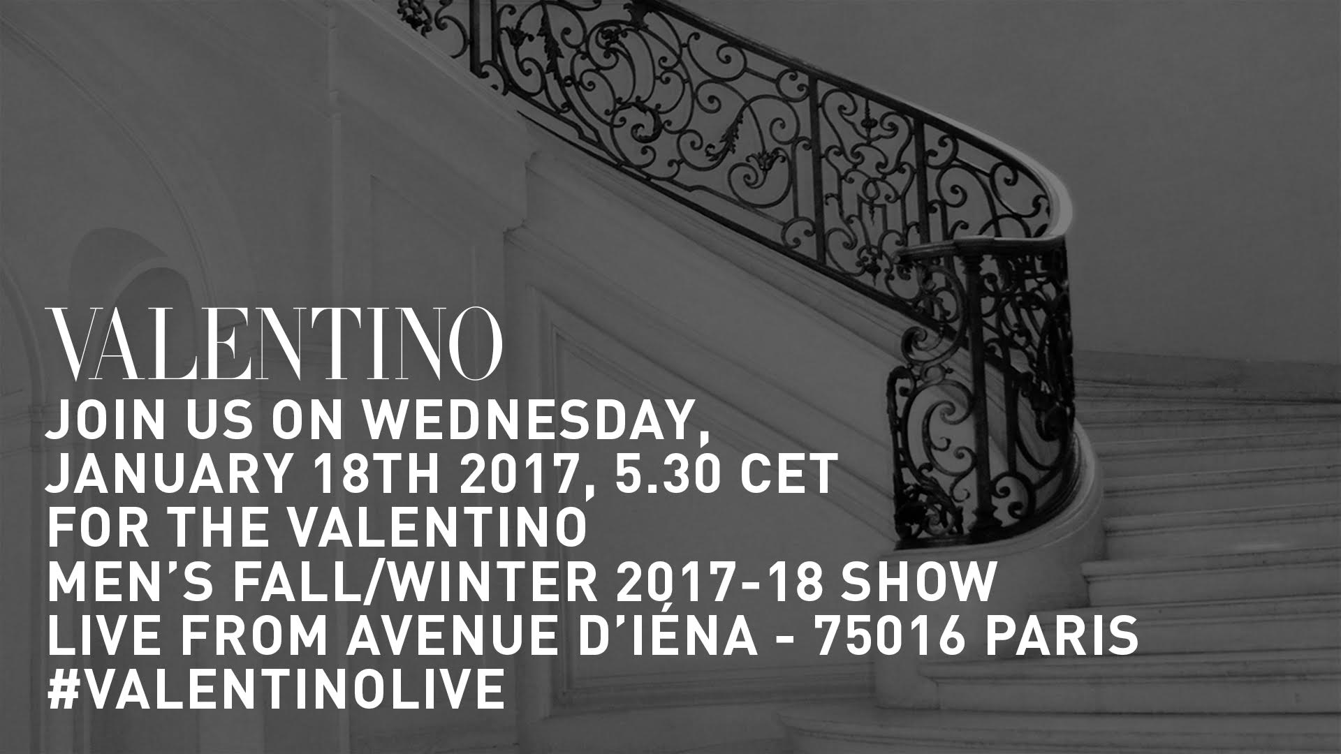 Valentino Fall Winter 2017-18 Men's Fashion Show Live Streaming Paris