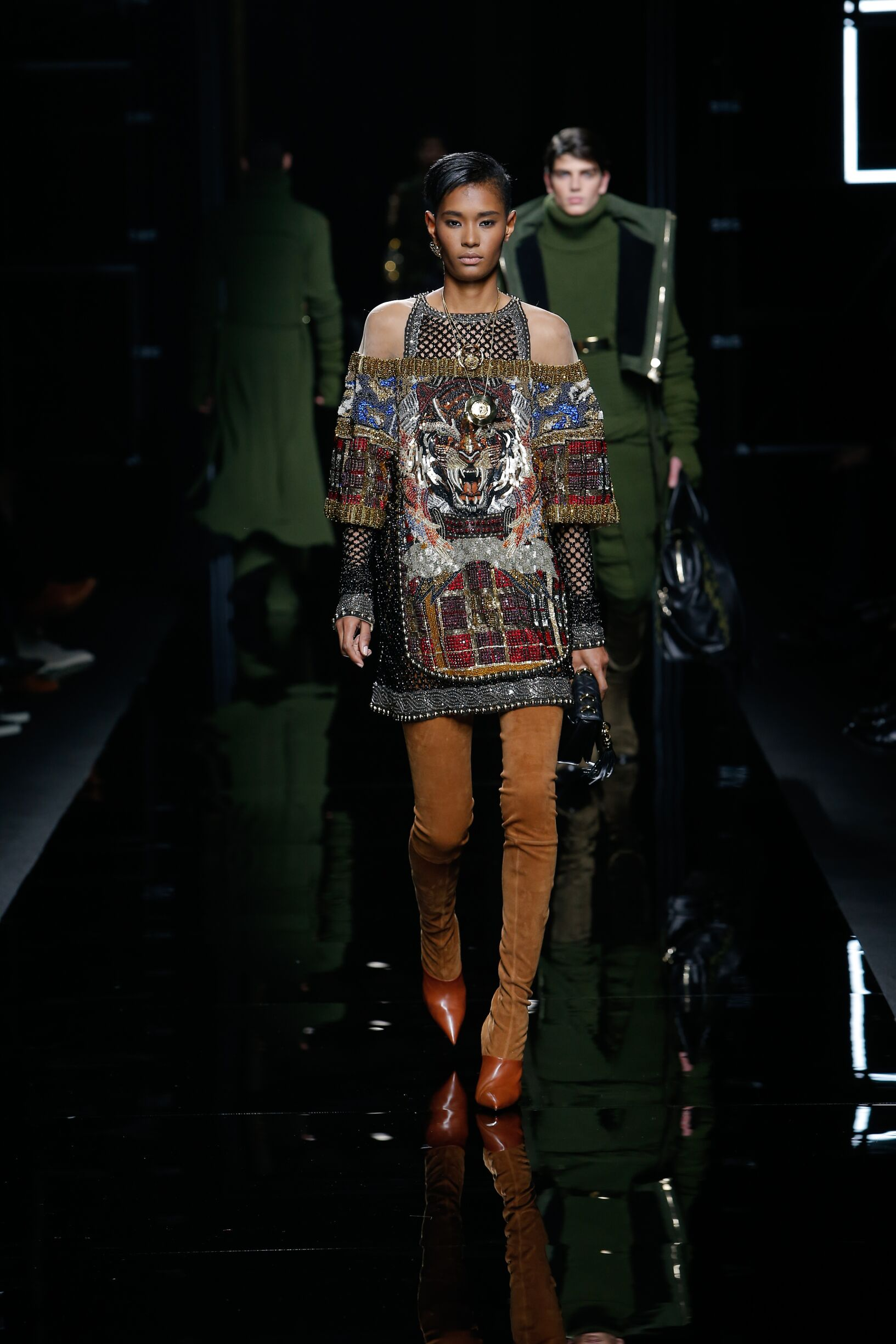 Woman Model Fashion Show Balmain