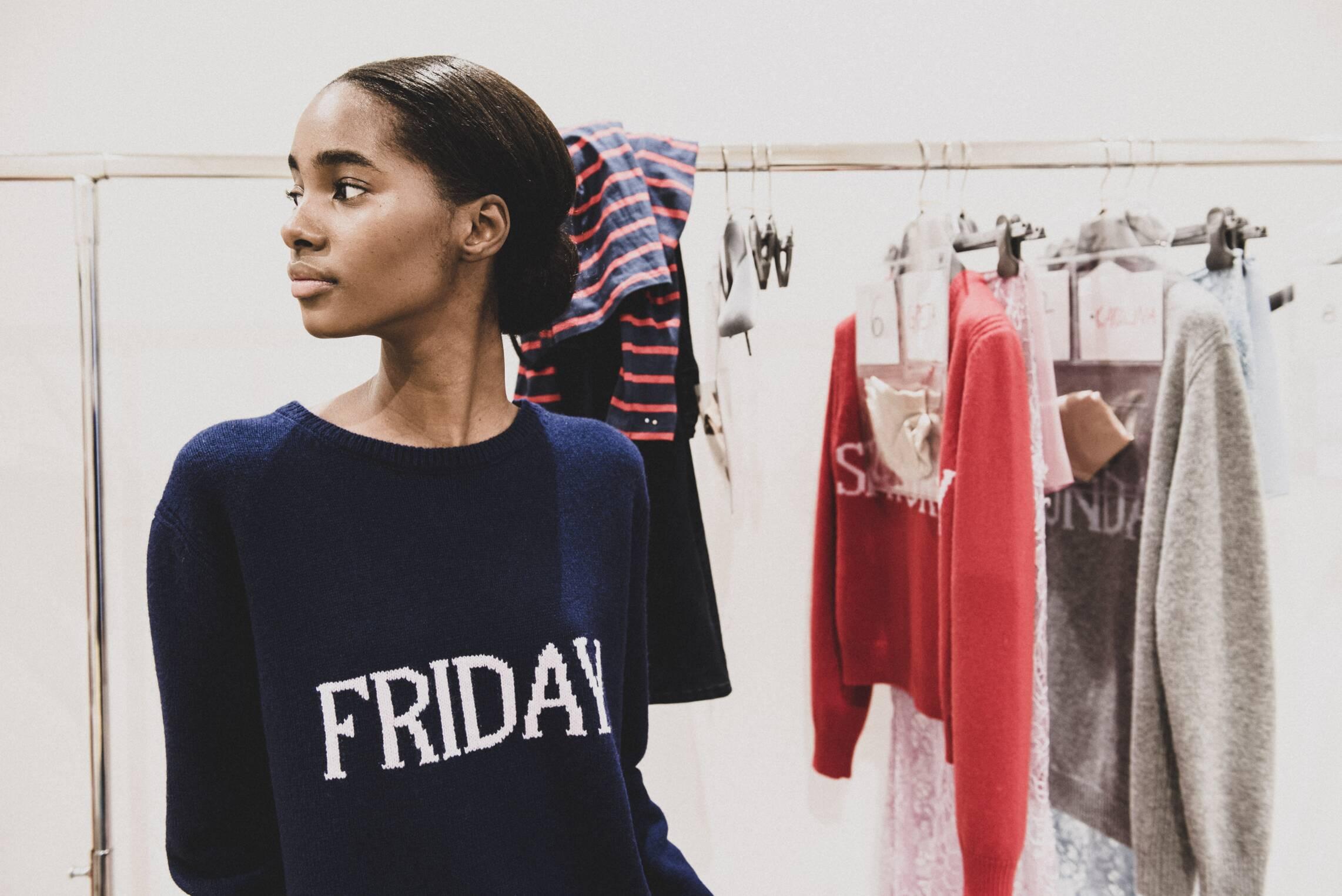 Backstage Alberta Ferretti Milan Fashion Week Model
