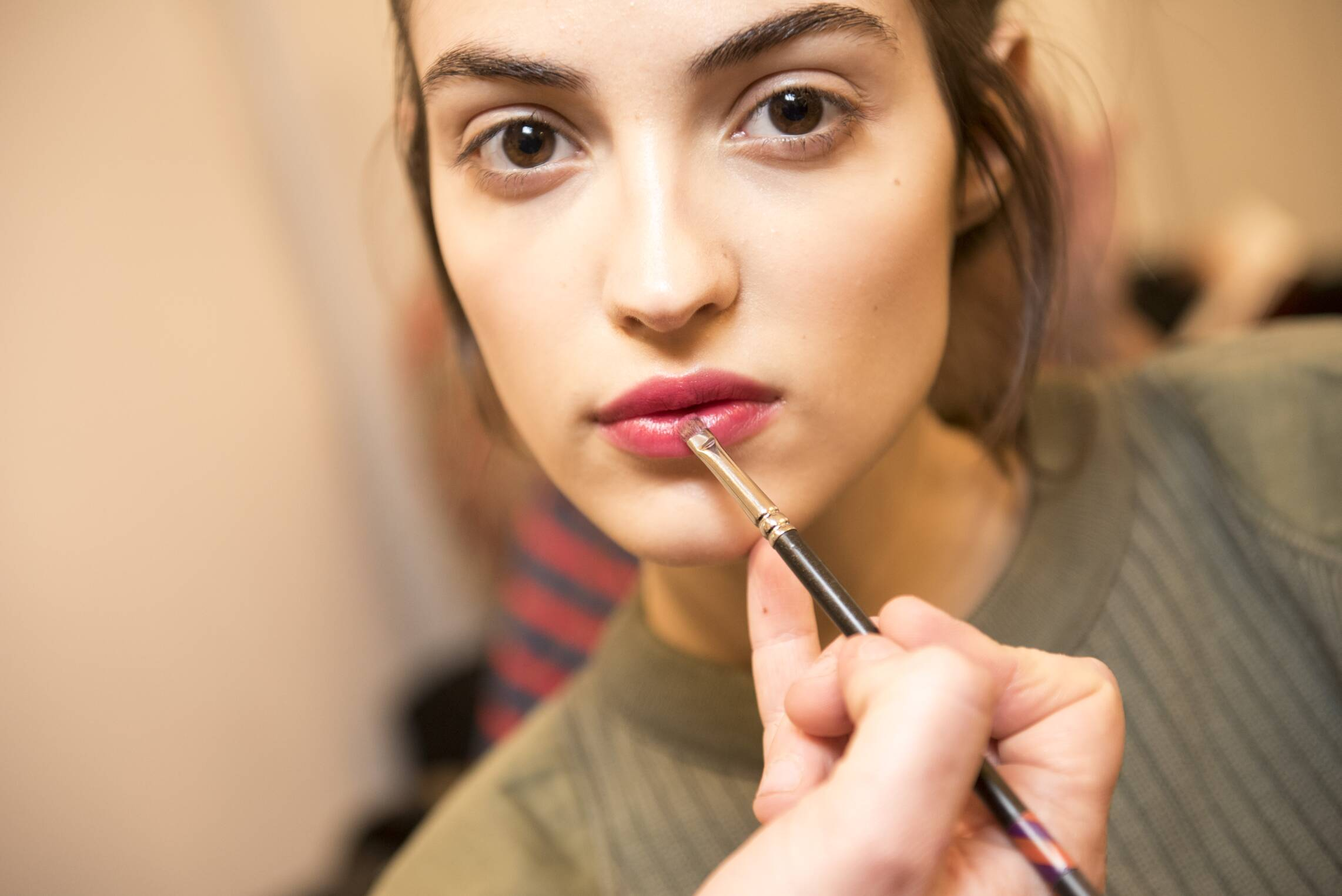 Fashion Woman Model Backstage Alberta Ferretti Make Up