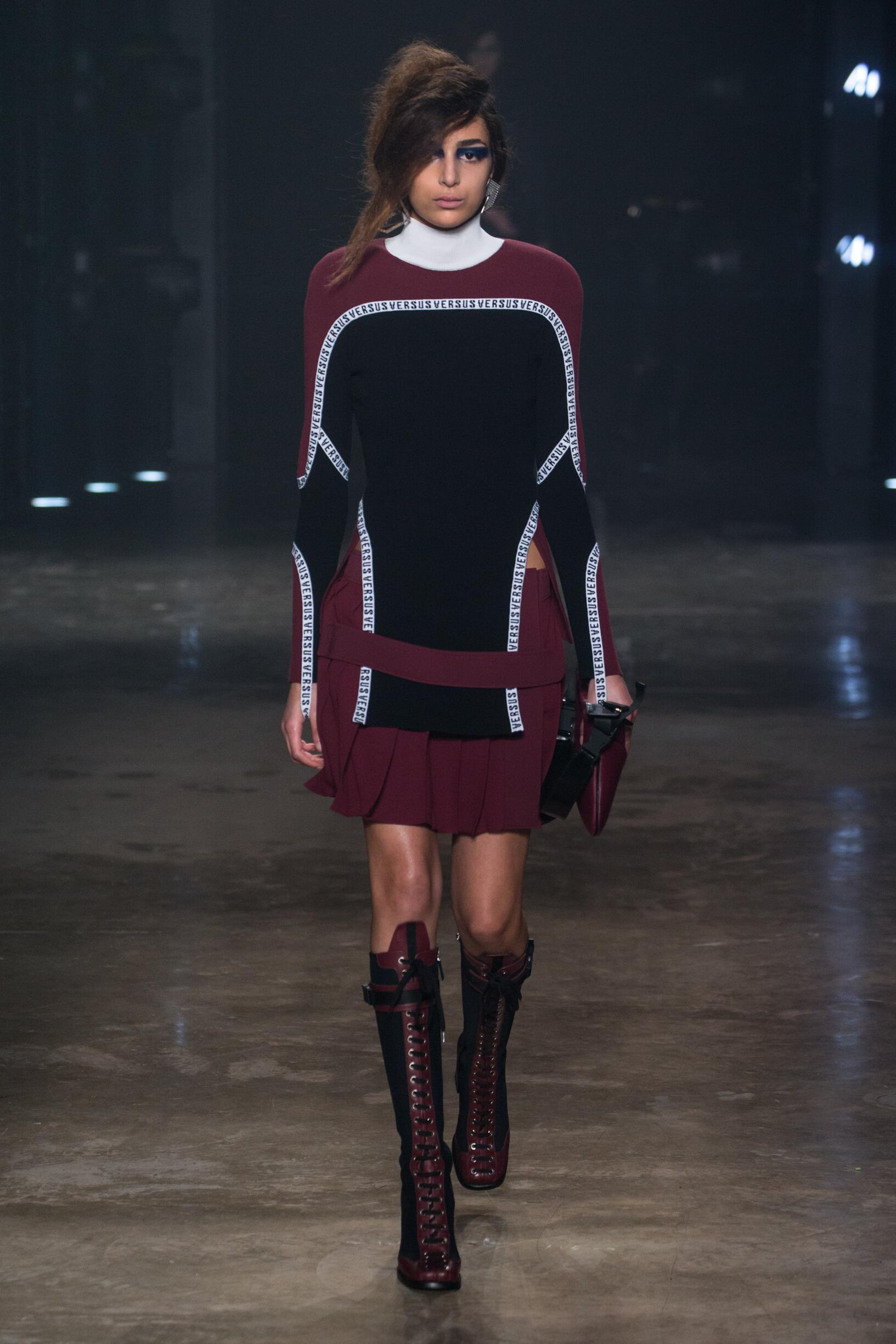 Fashion Woman Model Versus Versace Catwalk