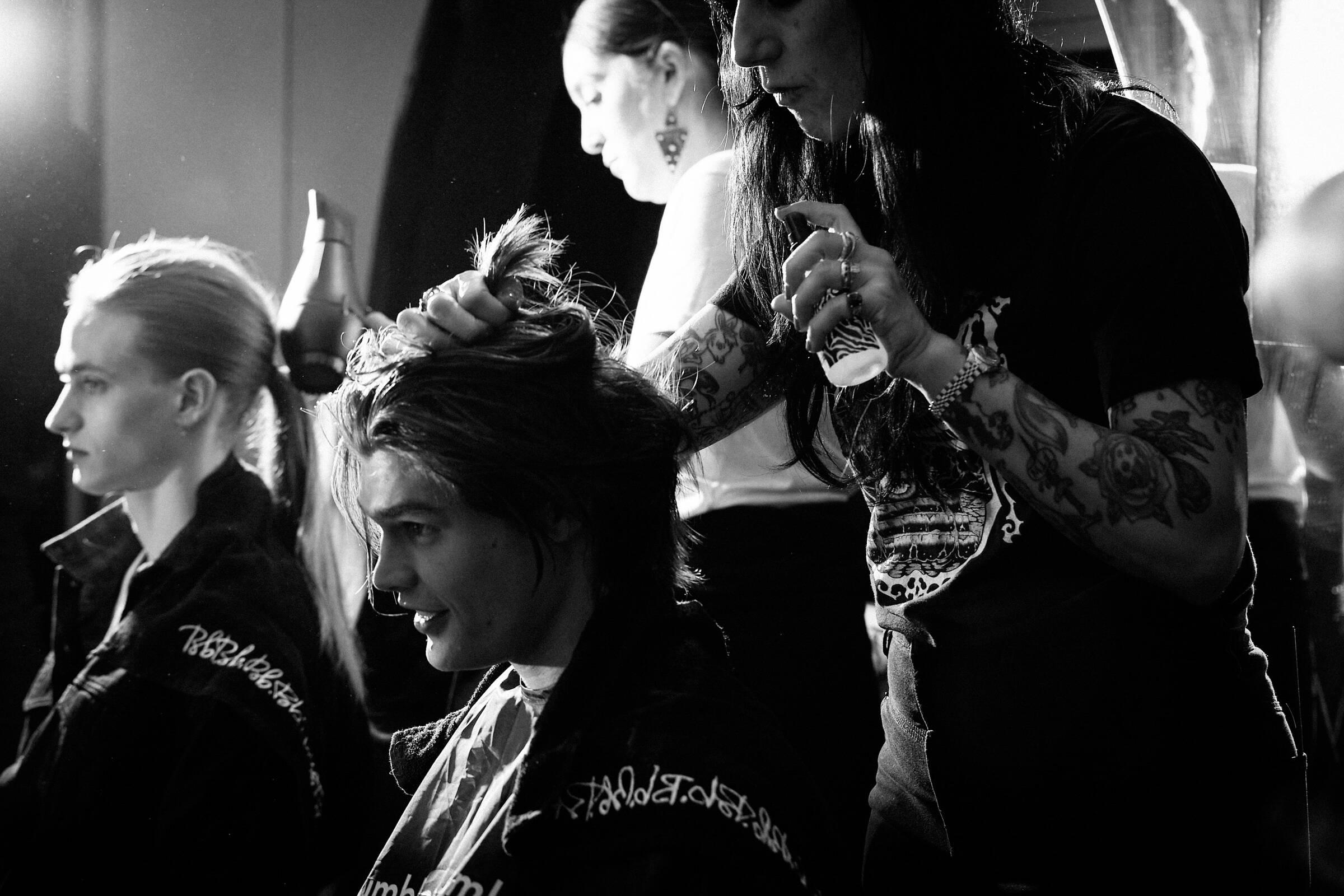 Hair Stylist John Varvatos Backstage