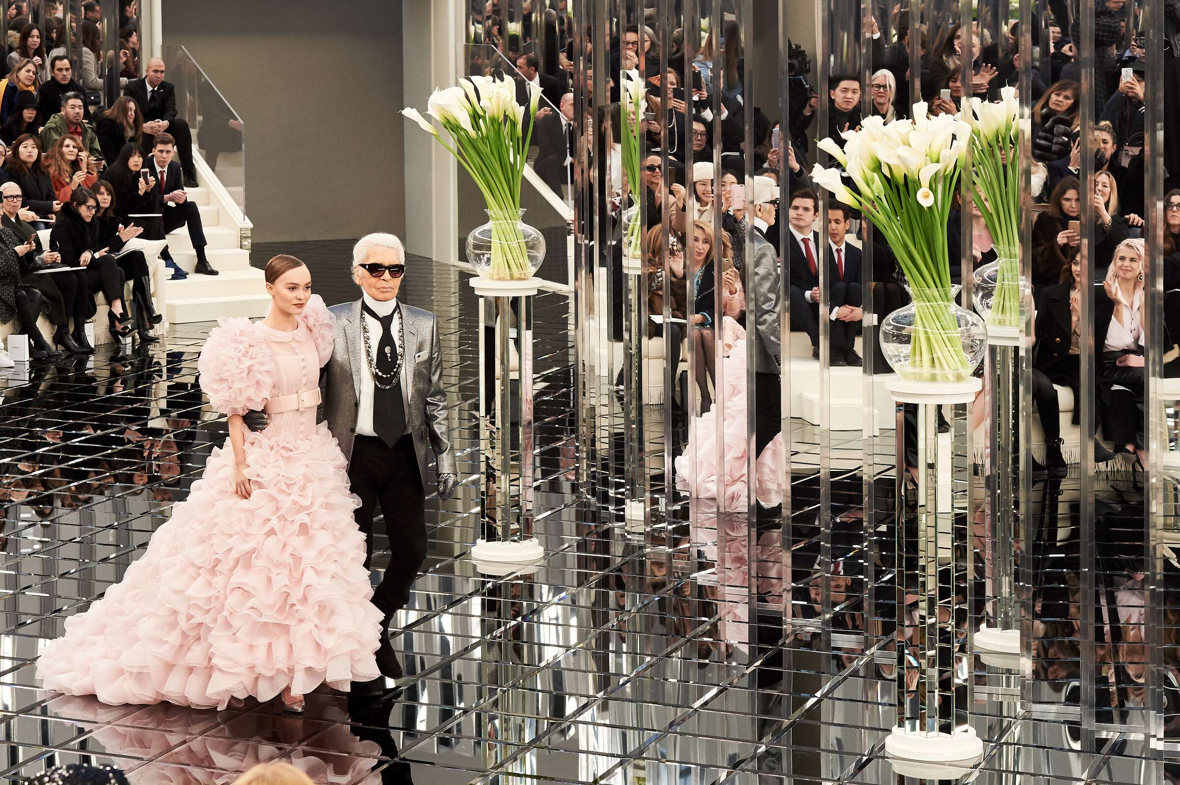 Karl Lagerfeld and Model Chanel Finale