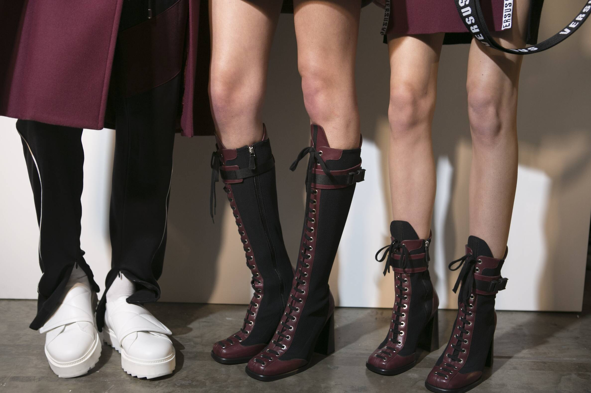 Versus Versace Backstage Fashion Models Shoes Details