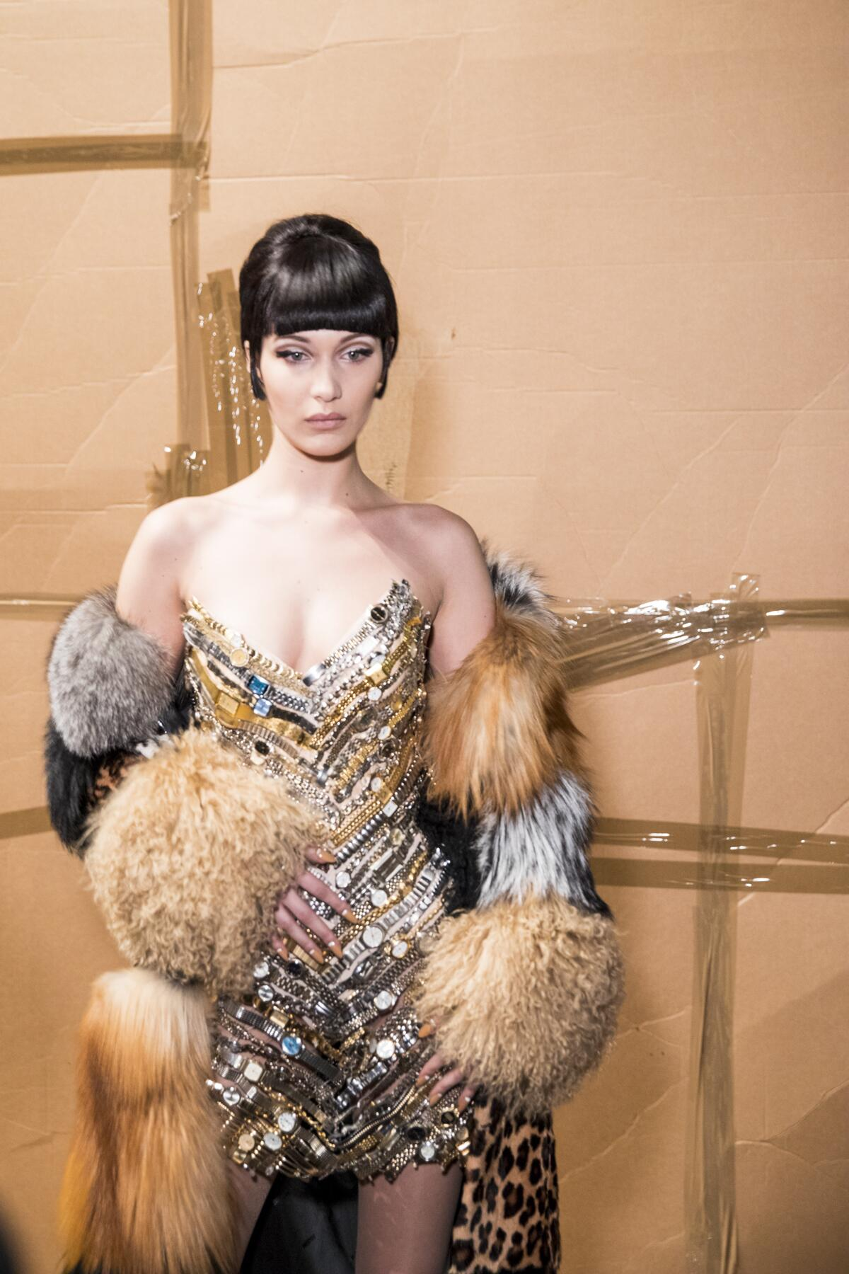 Bella Hadid Backstage Moschino Fall Winter 2017-18 Collection