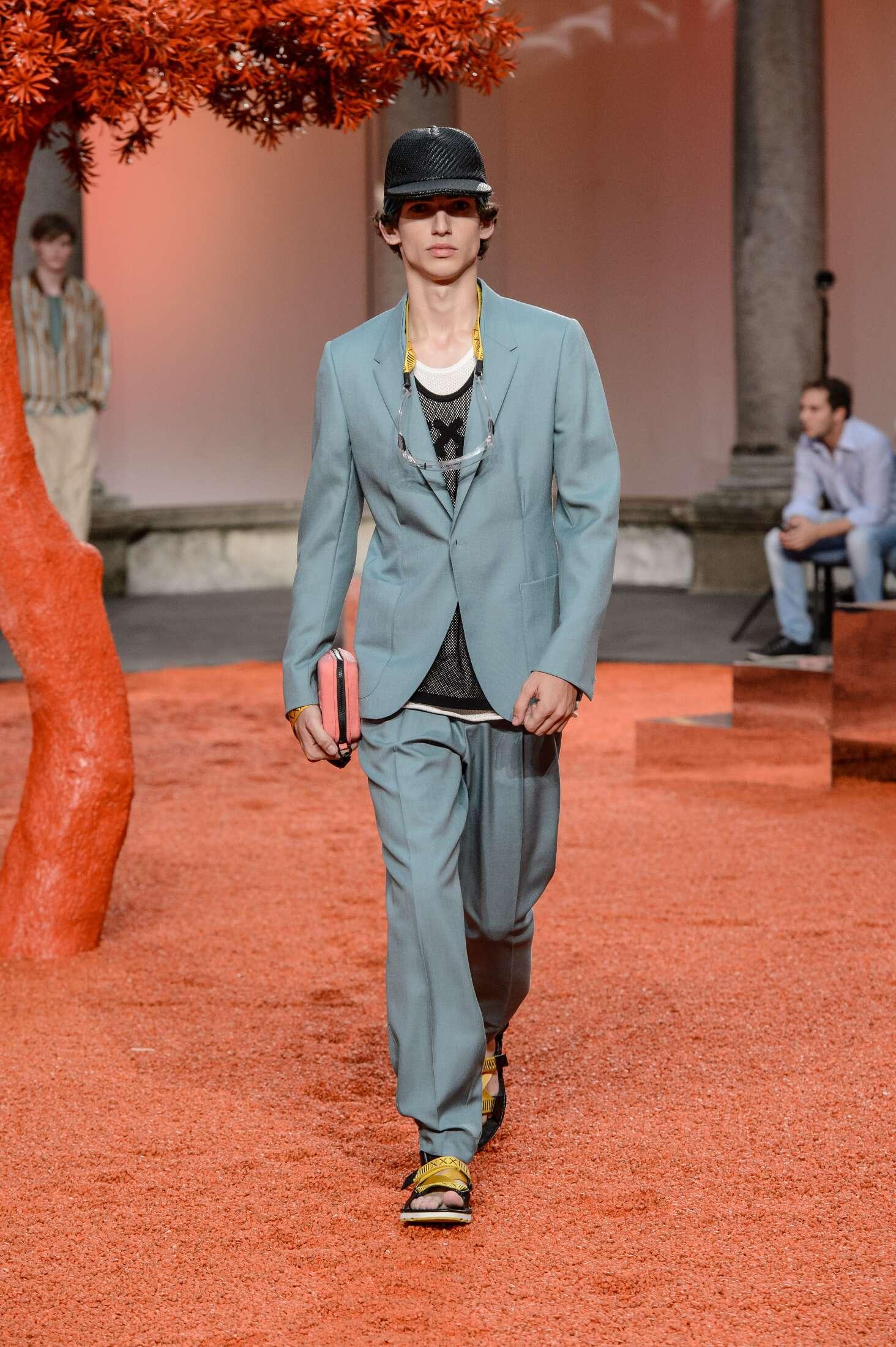 Fashion Model Ermenegildo Zegna Couture Catwalk