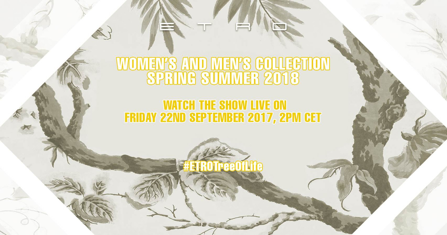 Etro Spring Summer 2018 Fashion Show Live Streaming Milan