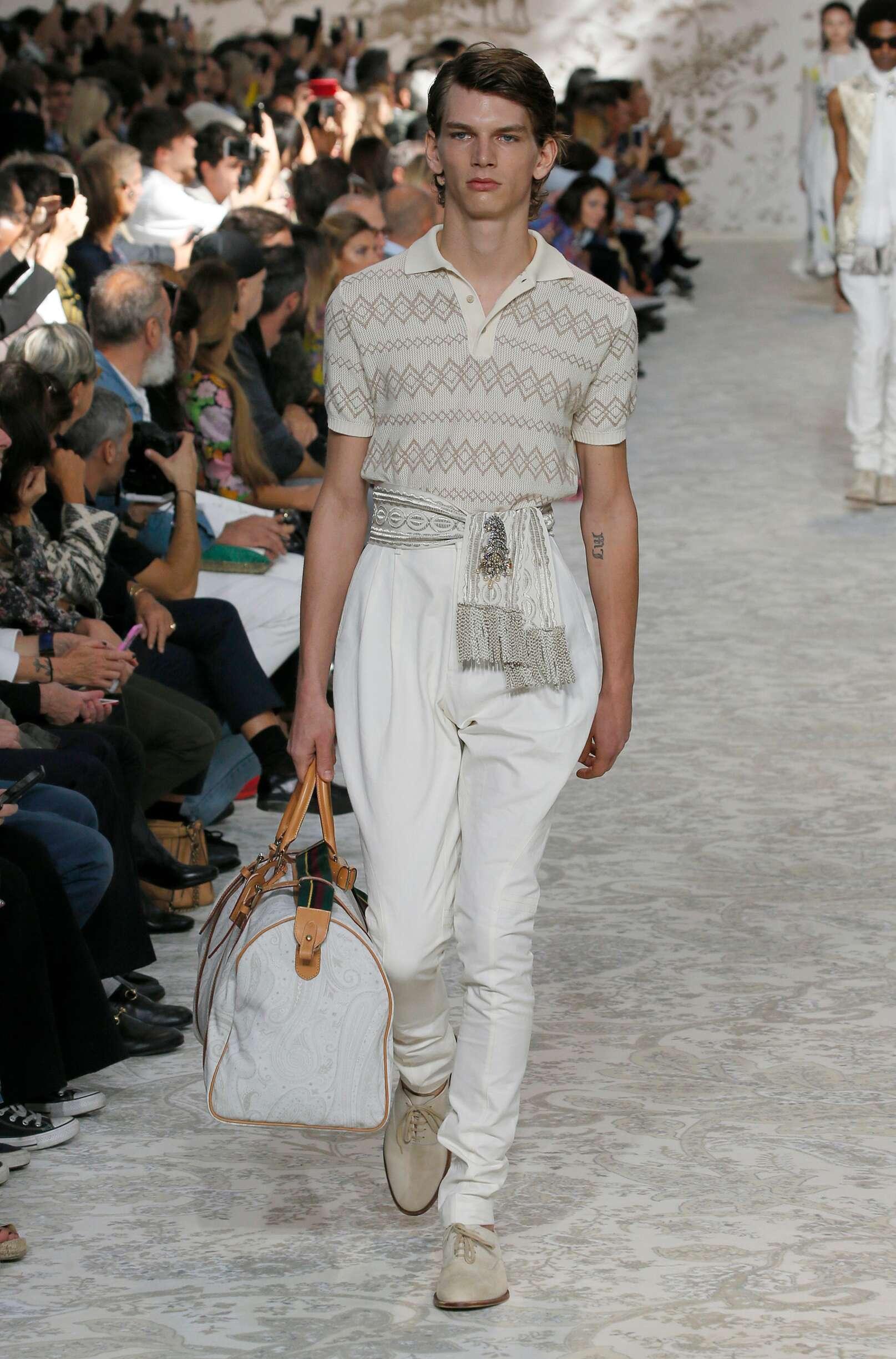 Etro Man Model Milan Fashion Week