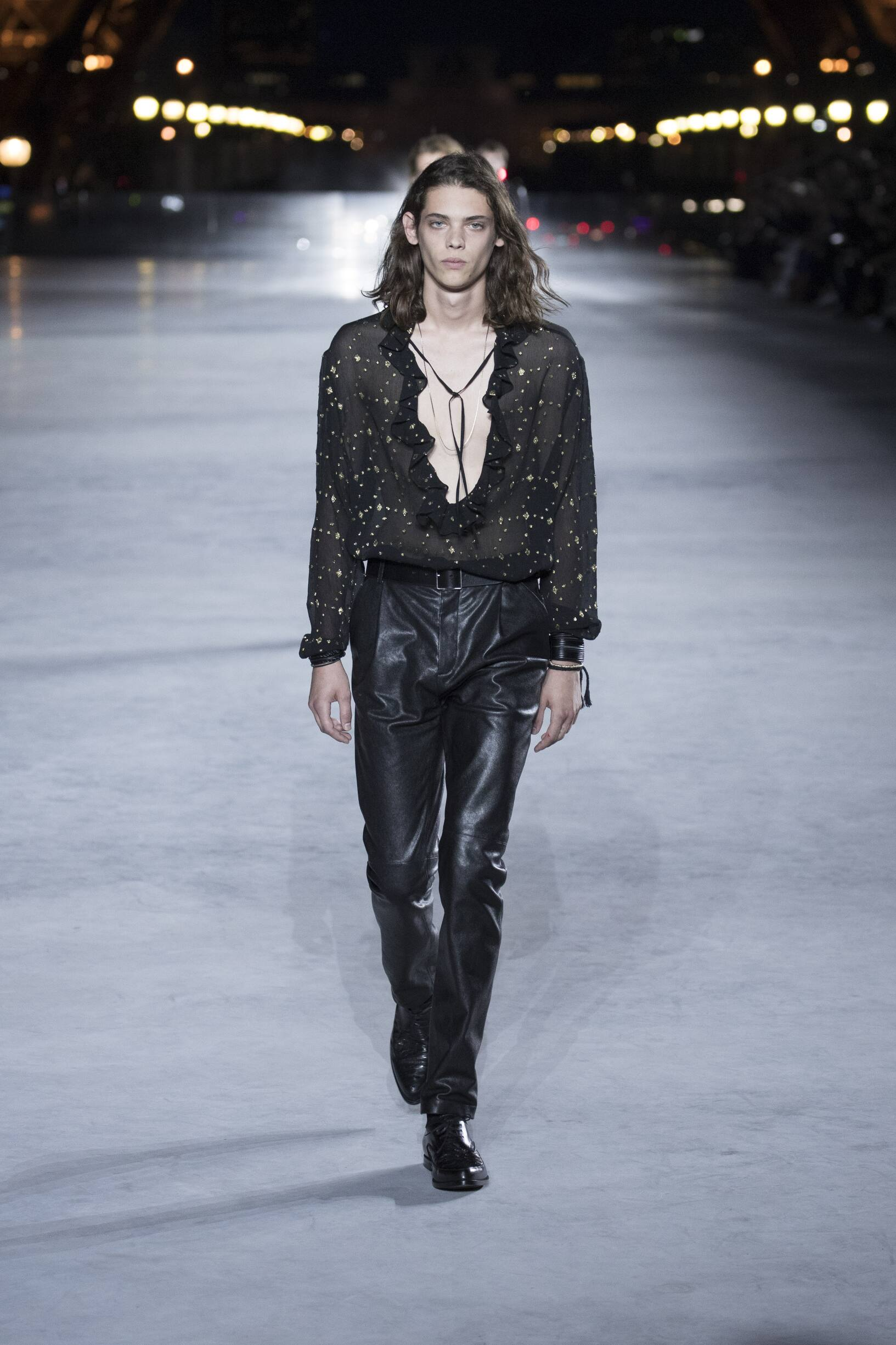 Fashion Man Model Saint Laurent Catwalk
