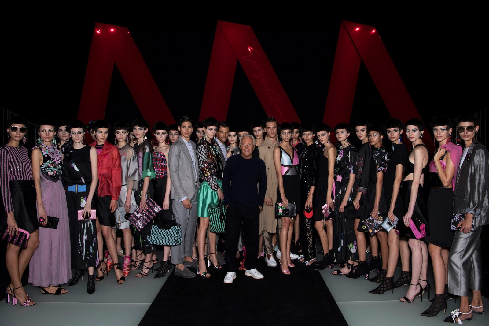 Models and Giorgio Armani