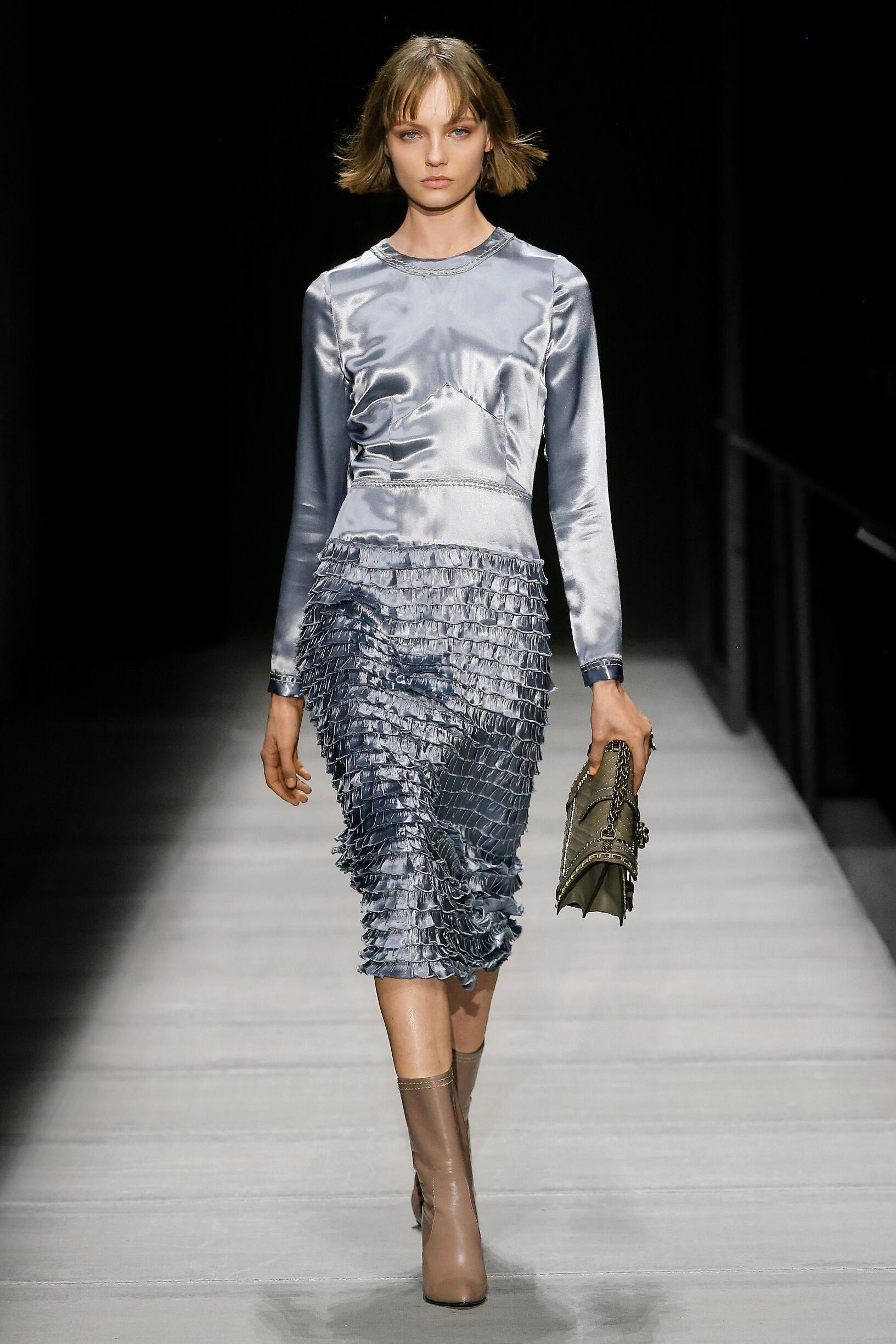 Fashion Woman Model Bottega Veneta Catwalk