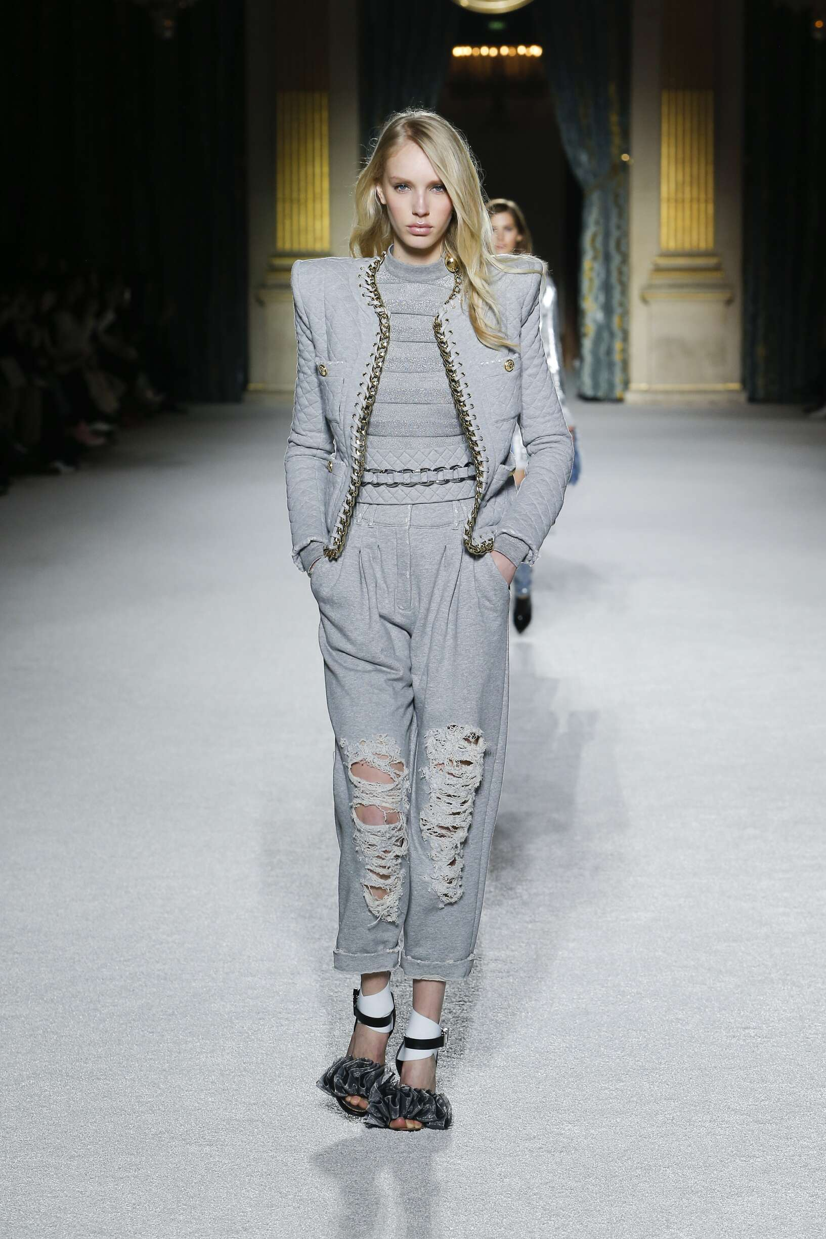 Fashion Model Balmain Catwalk