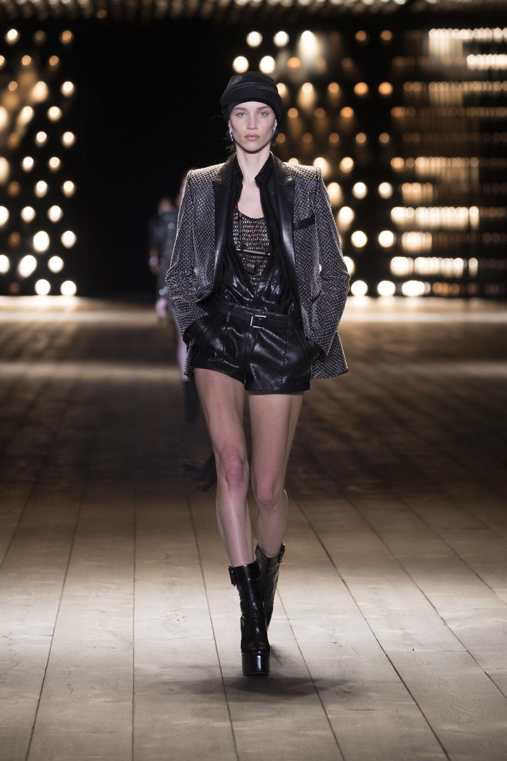 Fashion Show Woman Model Saint Laurent Catwalk