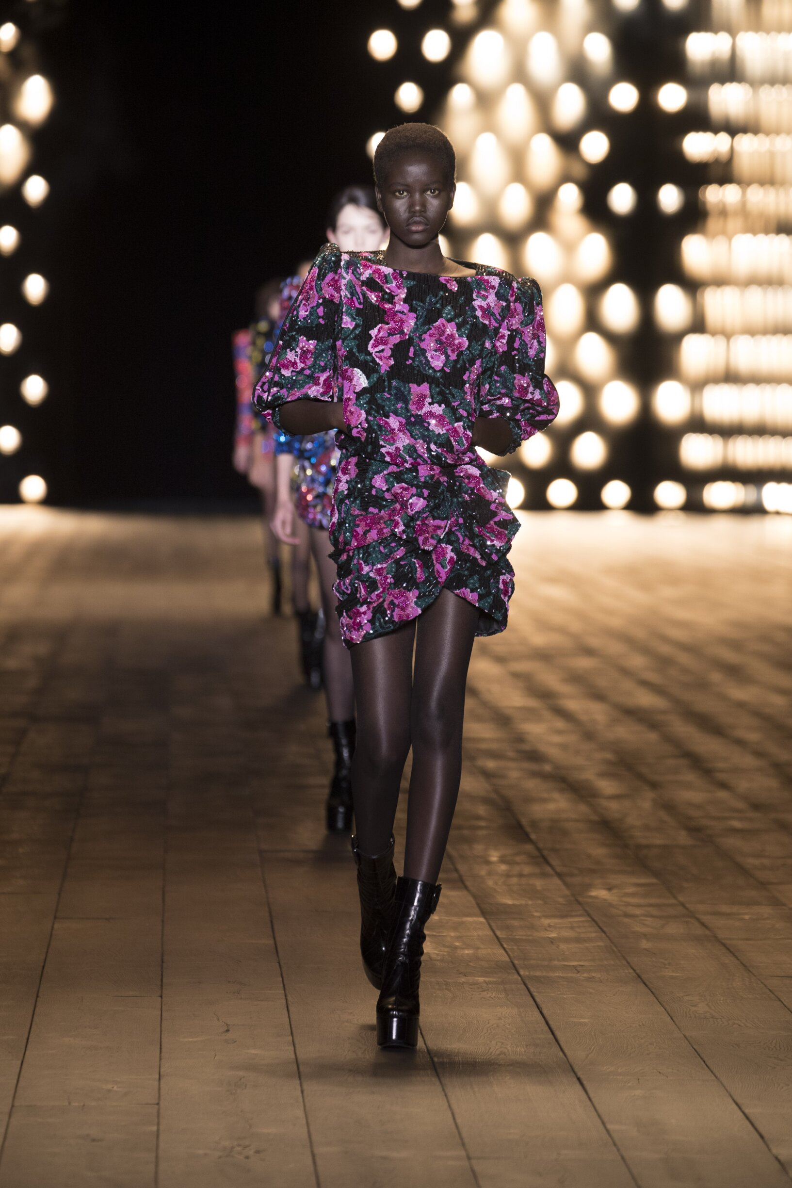 Fashion Woman Model Saint Laurent Catwalk