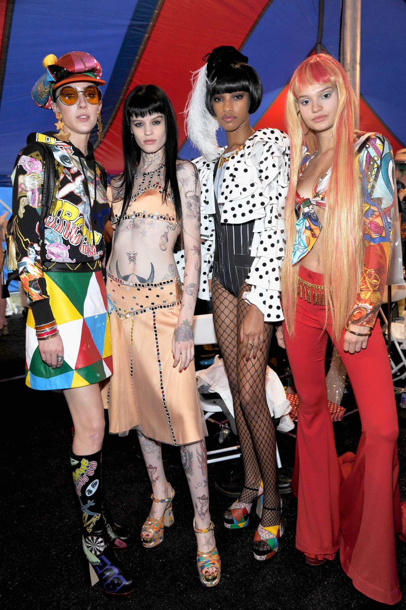 Fashion Models Moschino Backstage