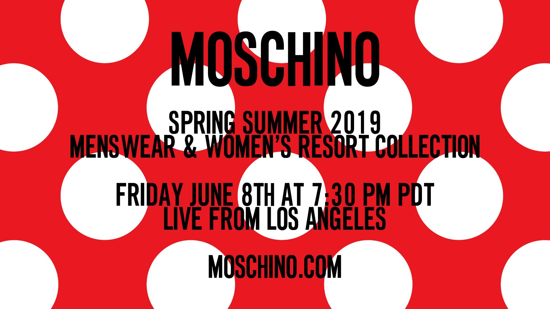 Moschino Spring Summer 2019 Menswear and Womens Resort Collection Fashion Show Live Streaming