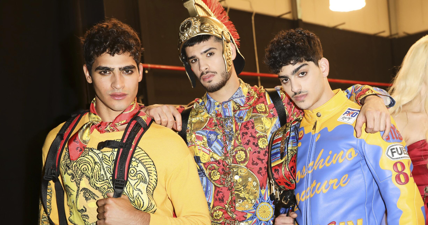 Models Backstage Moschino Menswear Rome