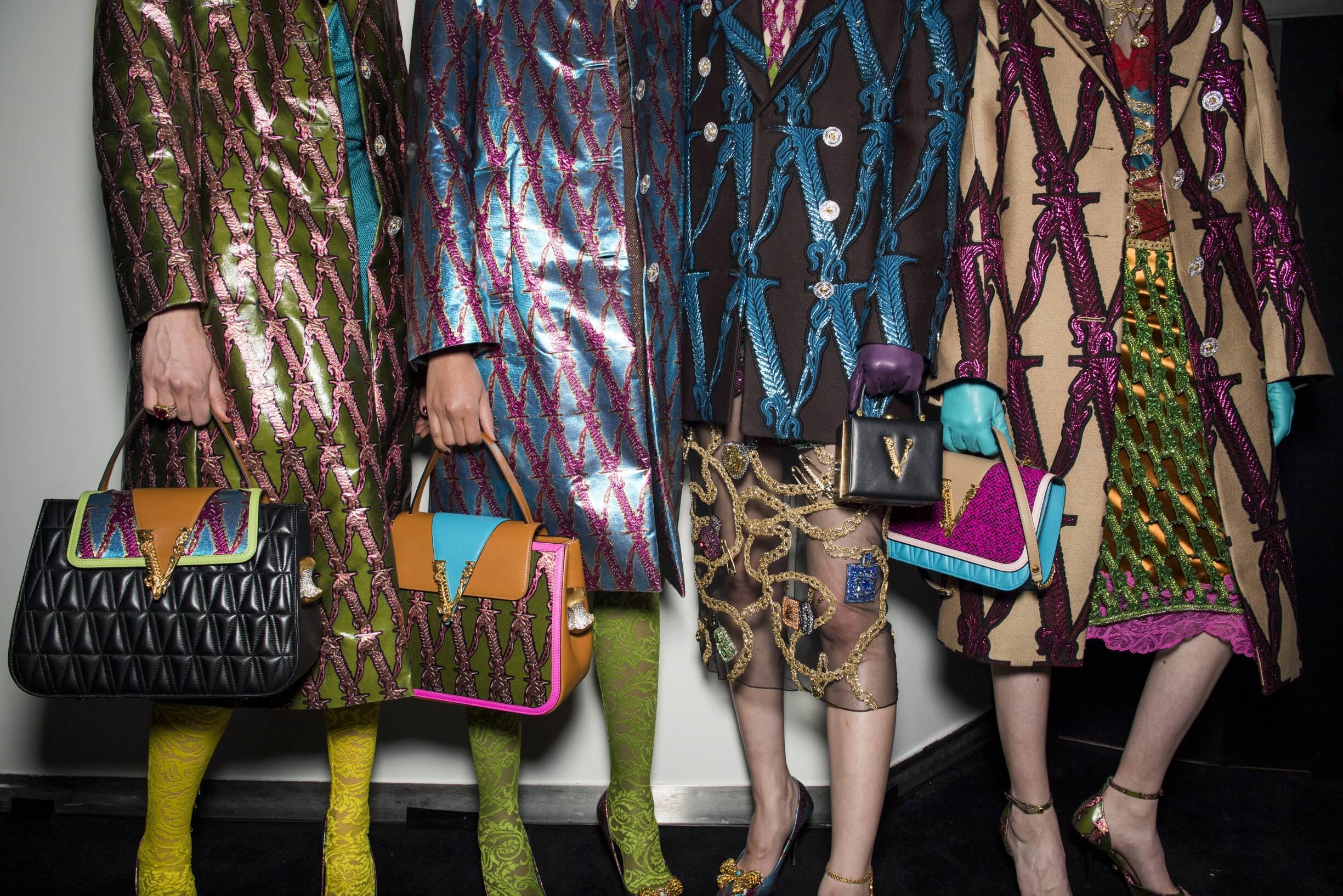 Backstage Versace Milan Fashion Week Bags