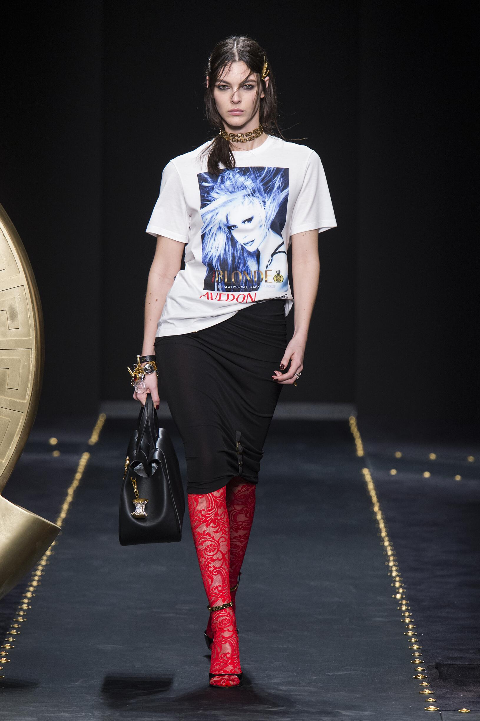Fashion Model Versace Catwalk