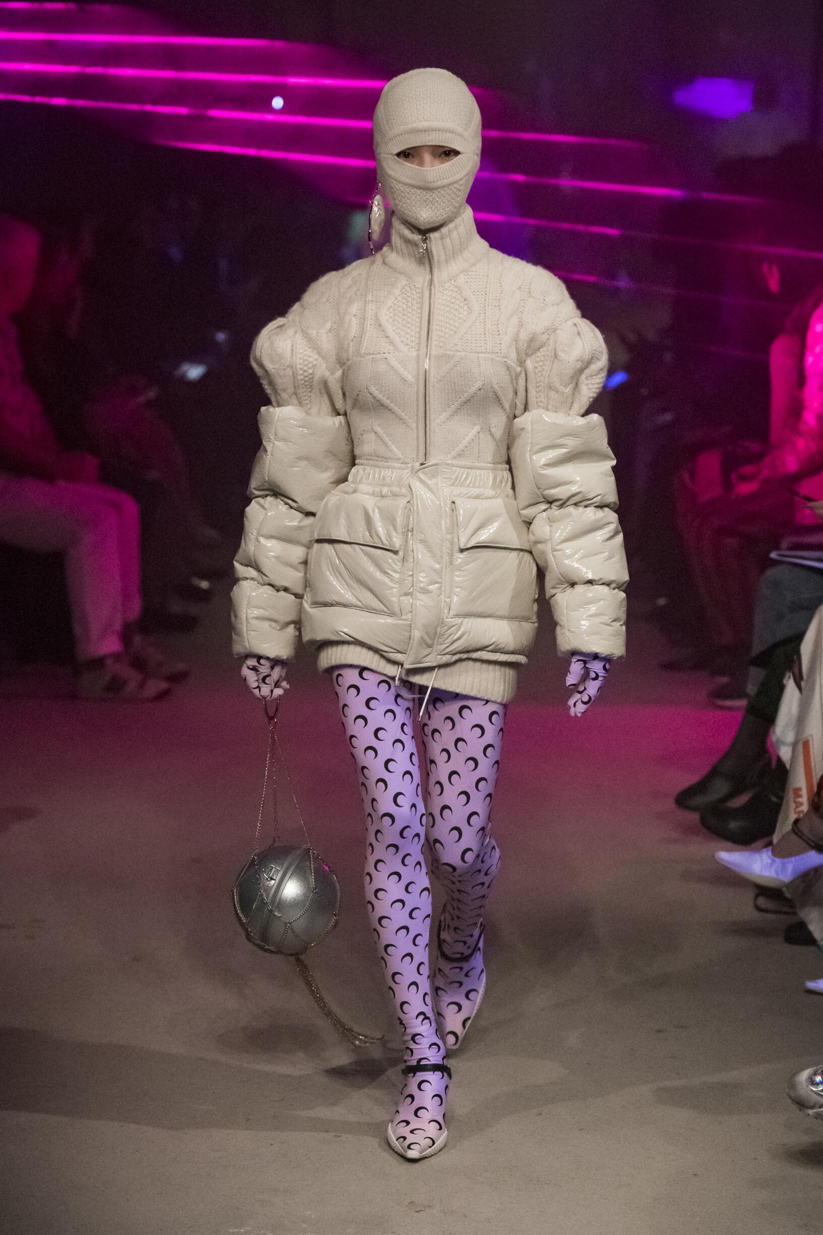 Fashion Show Woman Model Marine Serre Catwalk