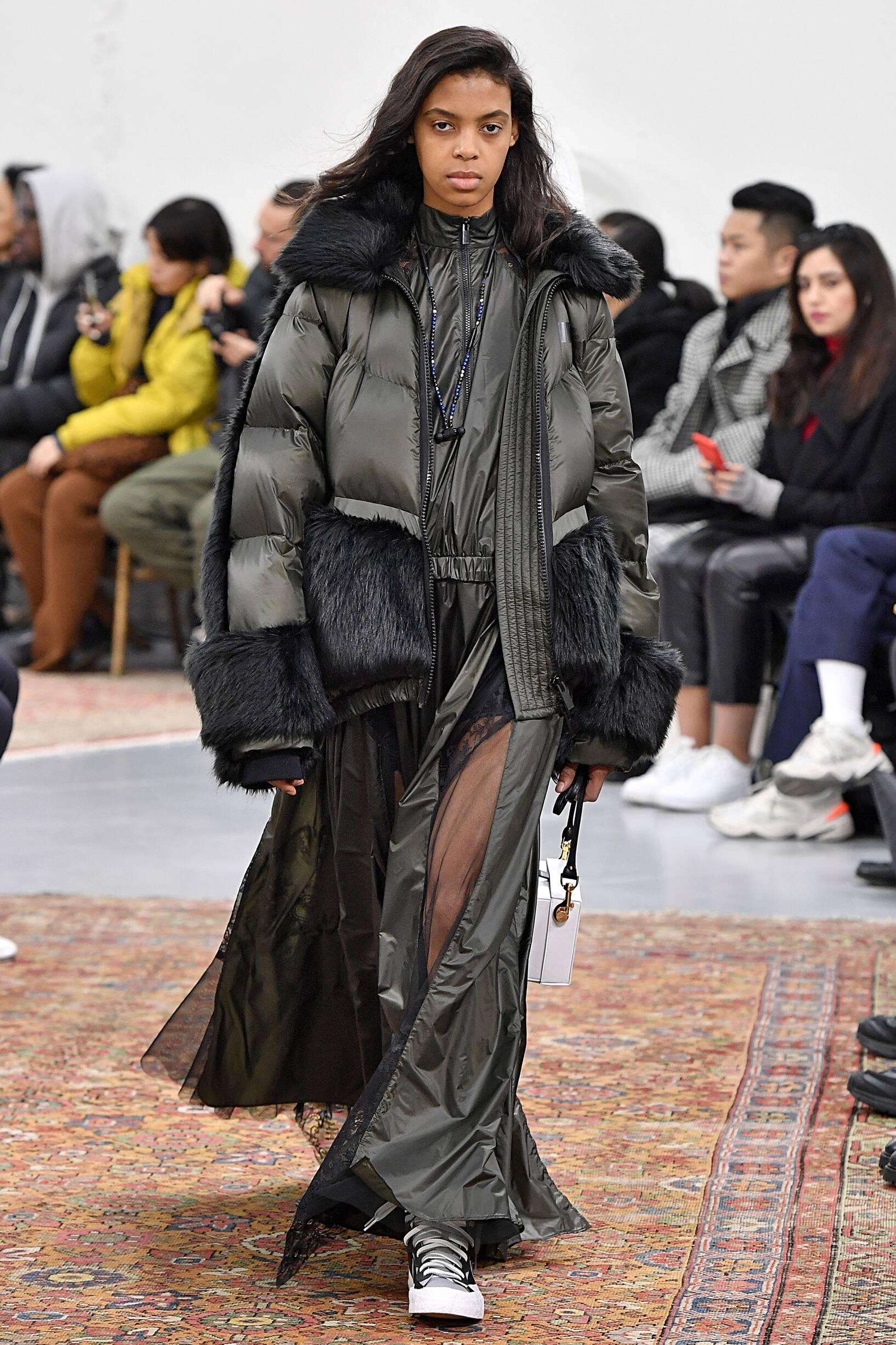 Fashion Show Woman Model Sacai Catwalk