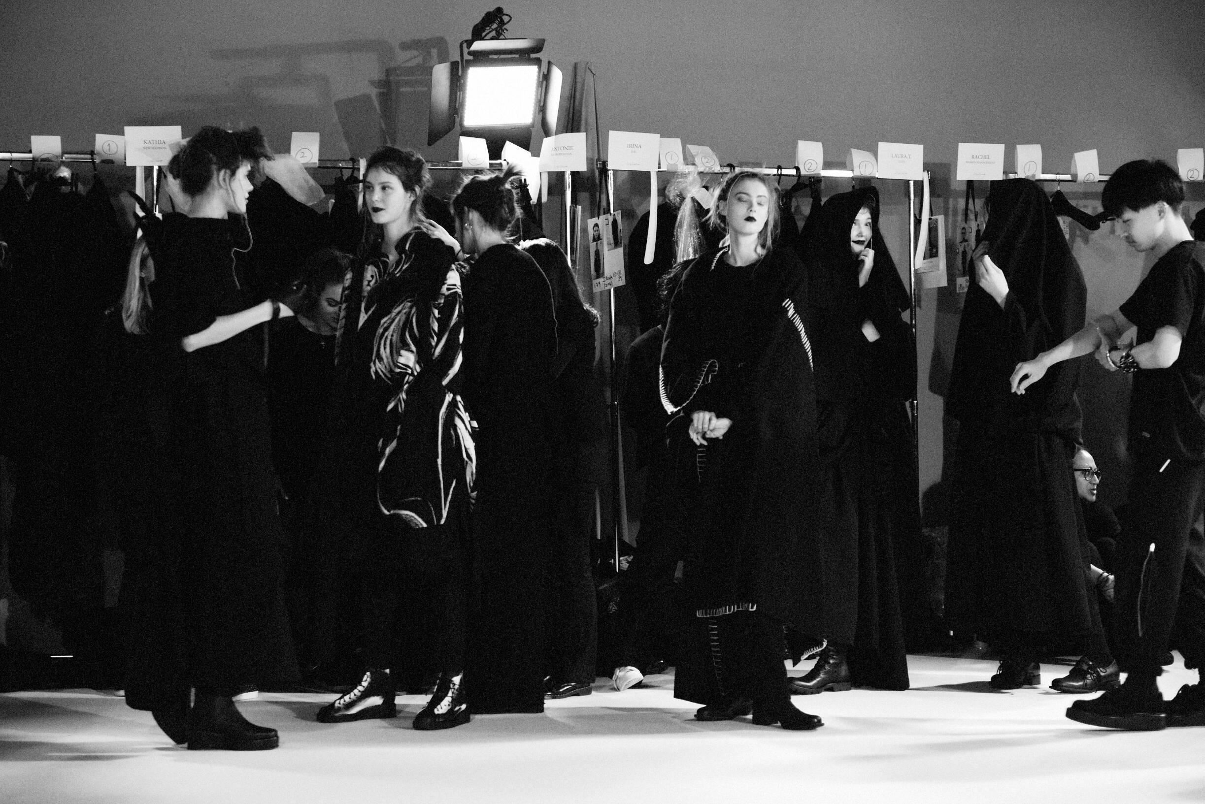 Models Fashion Show Backstage Yohji Yamamoto