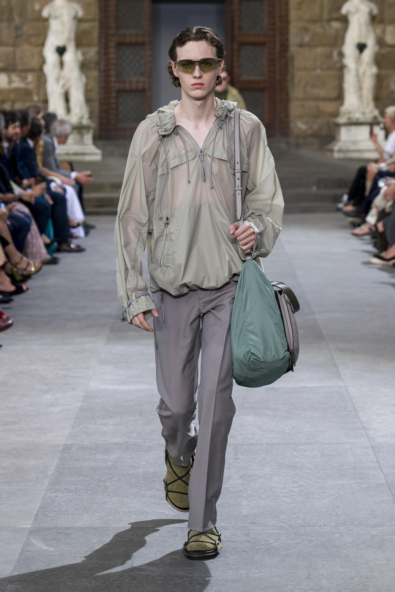 Fashion Man Model Salvatore Ferragamo Catwalk