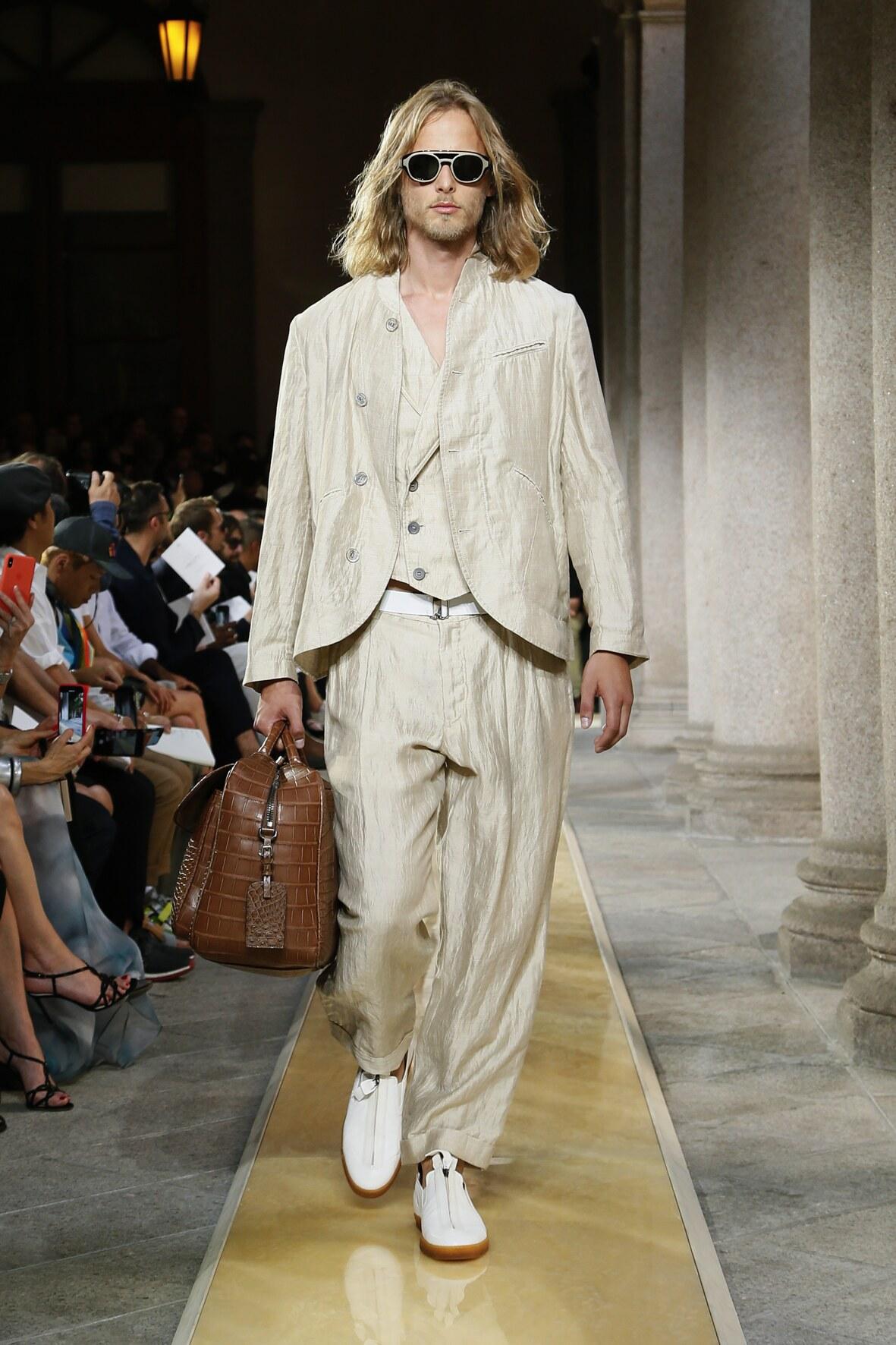 Fashion Model Man Giorgio Armani Catwalk