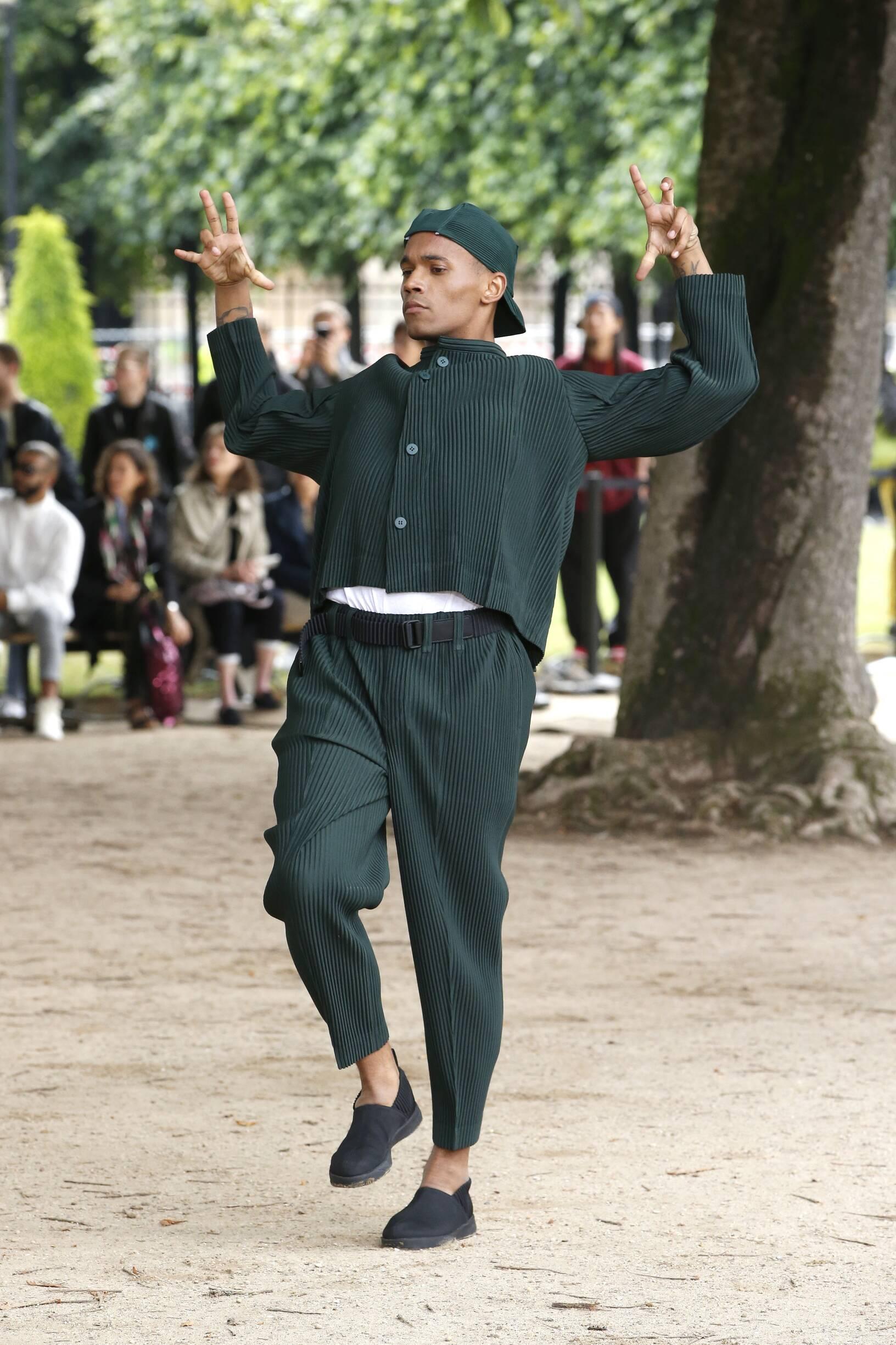 Fashion Model Man Issey Miyake Catwalk