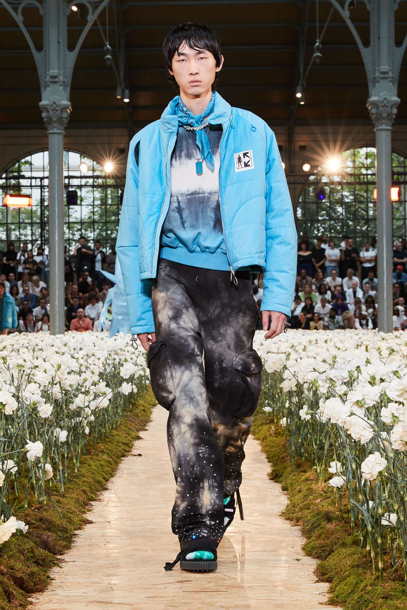 Fashion Model Man Off White c/o Virgil Abloh Catwalk