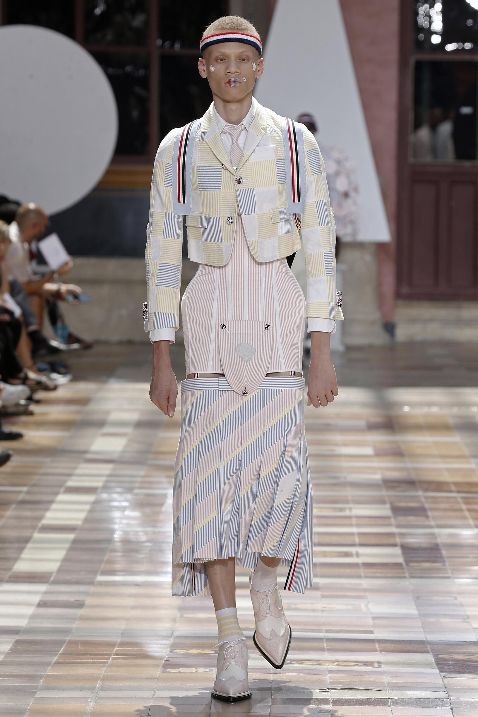 Fashion Model Man Thom Browne Catwalk