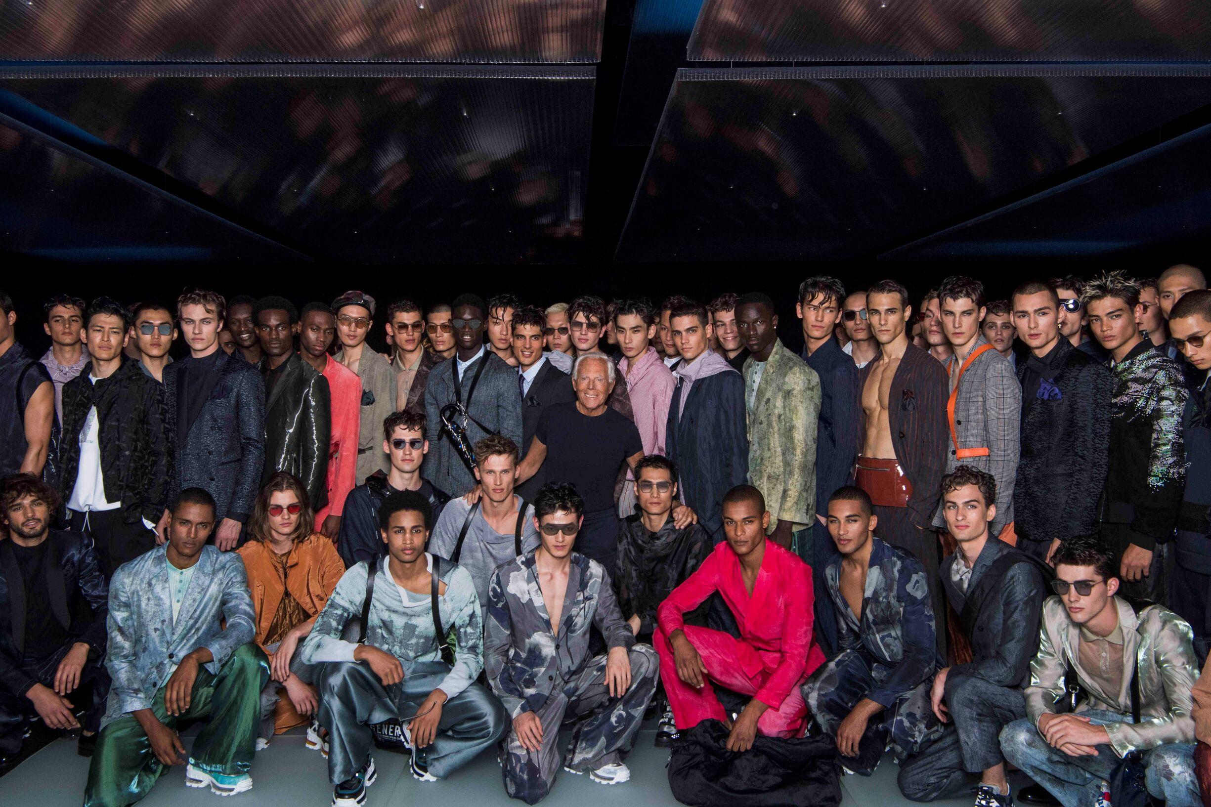 Giorgio Armani with Models Finale Emporio Armani