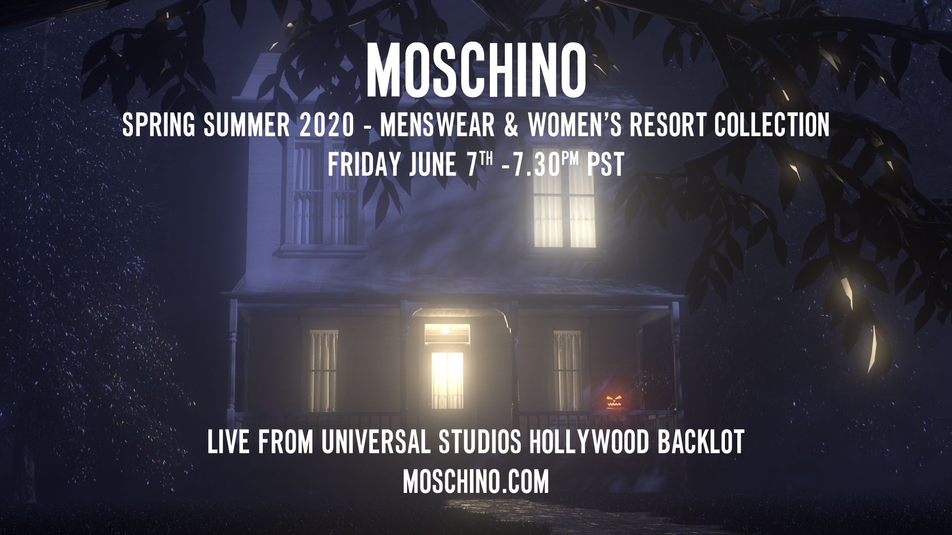 Moschino Spring Summer 2020 Menswear and Womens Resort Collection Fashion Show Live Streaming Hollywood