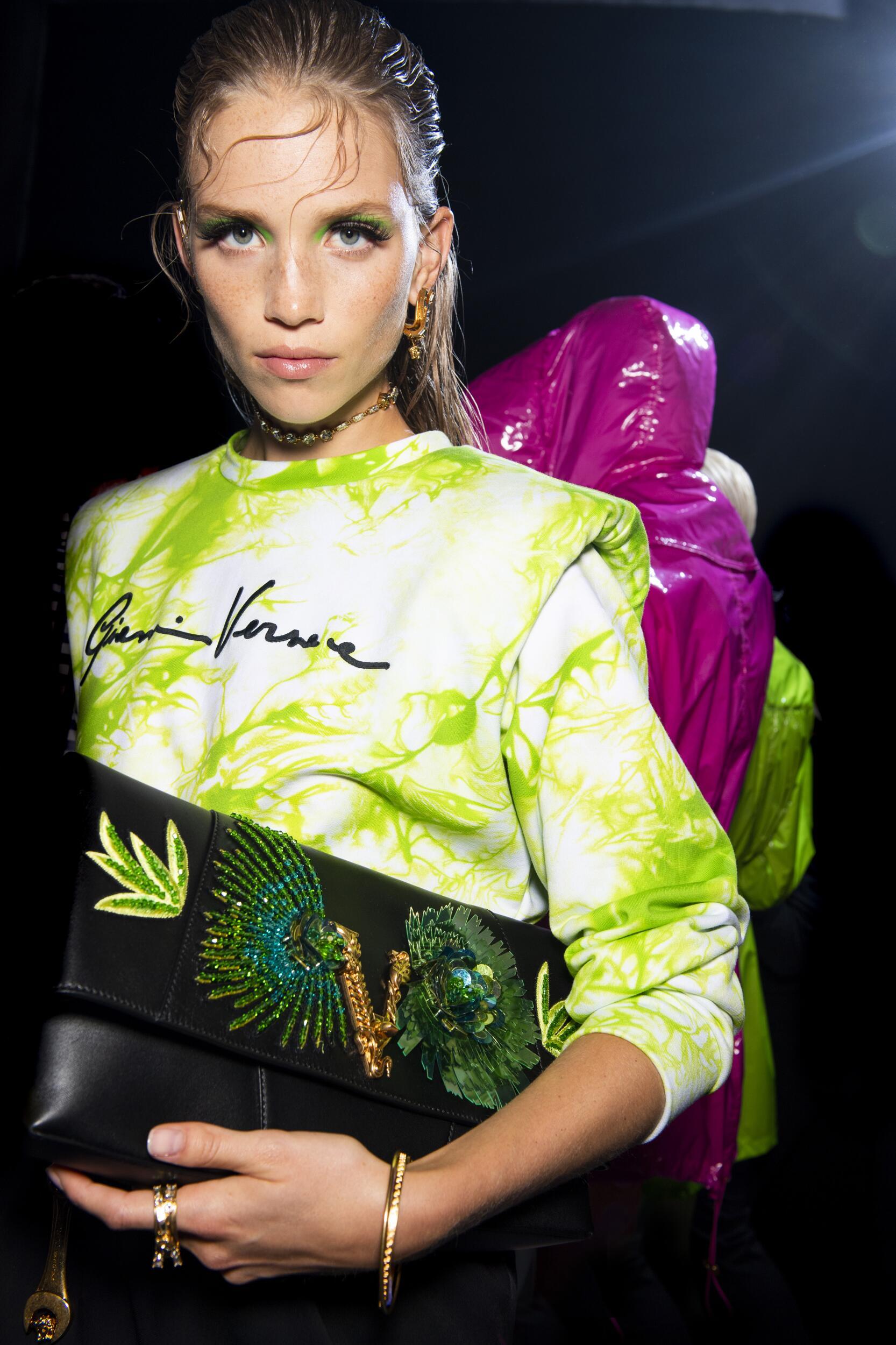 Backstage Versace Model Spring Summer 2020