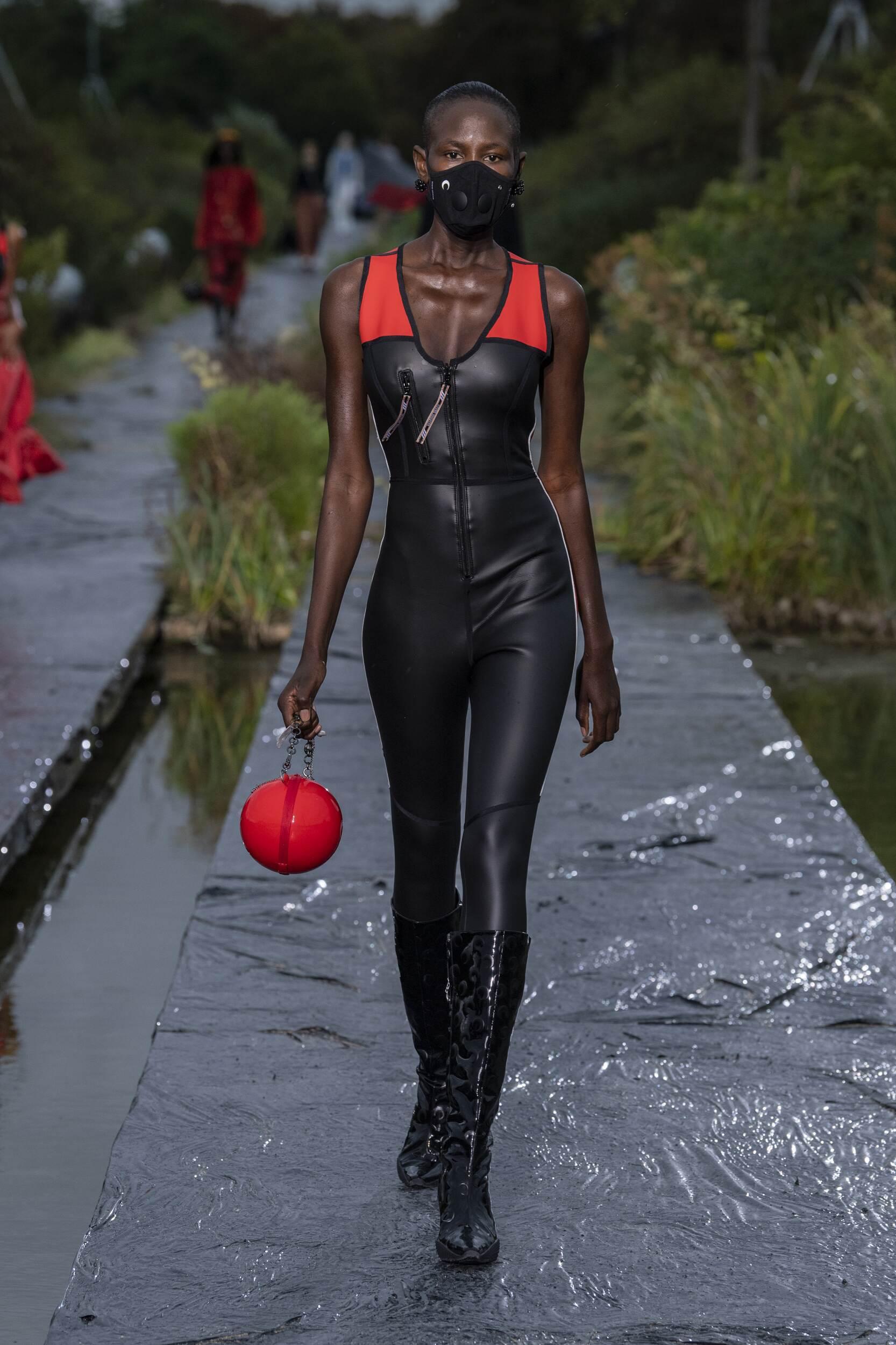 Fashion Model Woman Marine Serre Catwalk