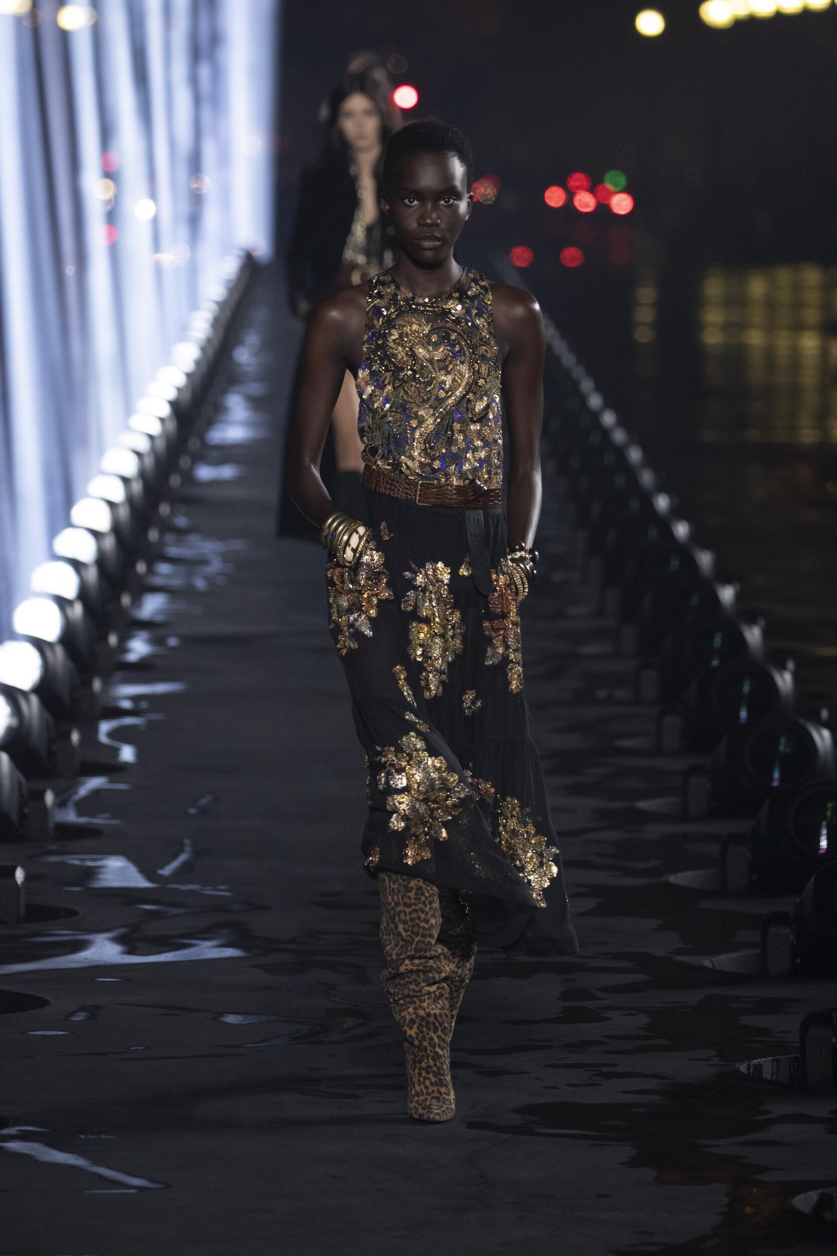 Fashion Model Woman Saint Laurent Catwalk