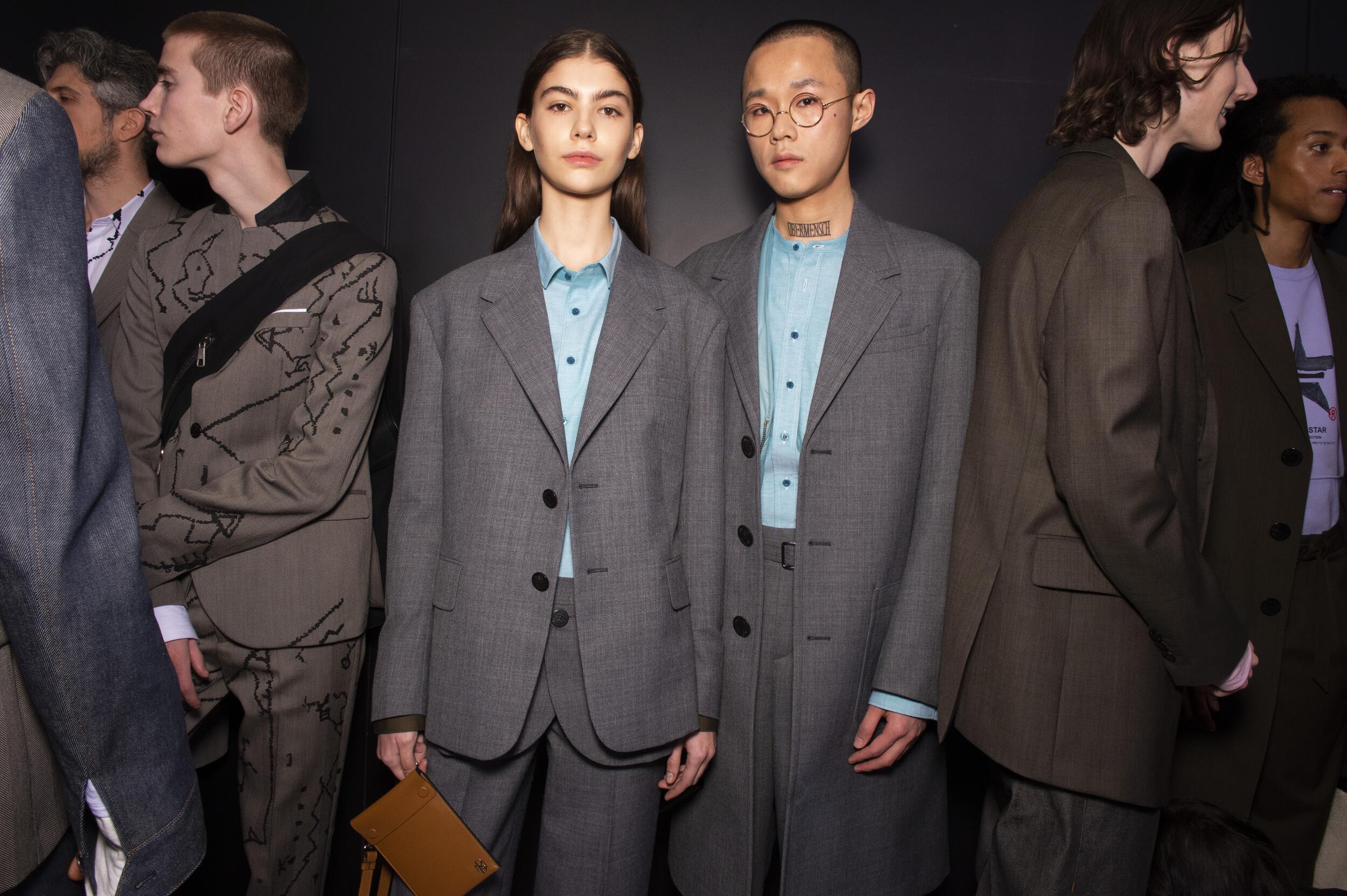 Models Backstage Neil Barrett Fall Winter 2020 Collection Milan Fashion Week