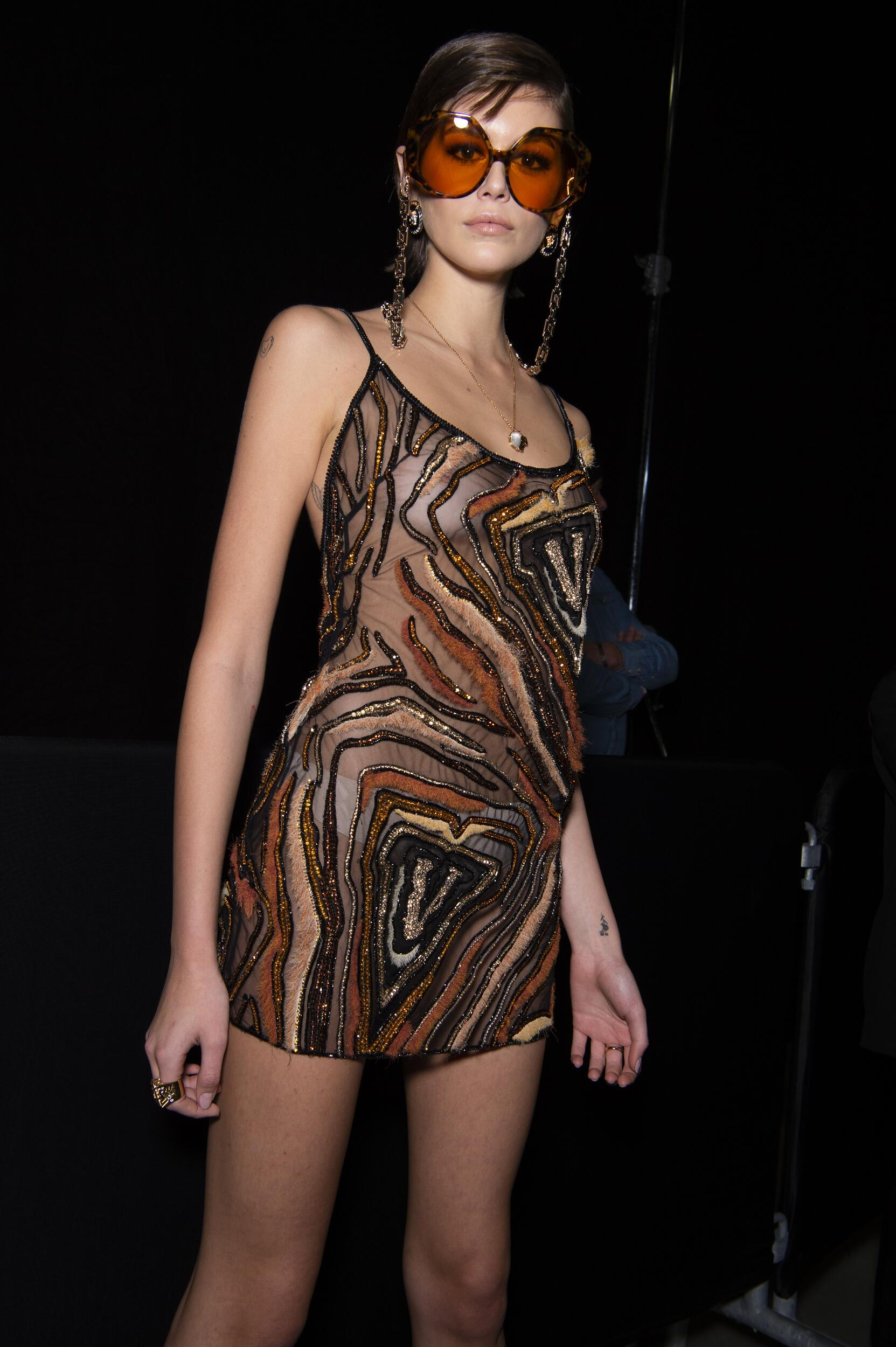 Fashion Model Backstage Versace Fall Winter 2020 Collection